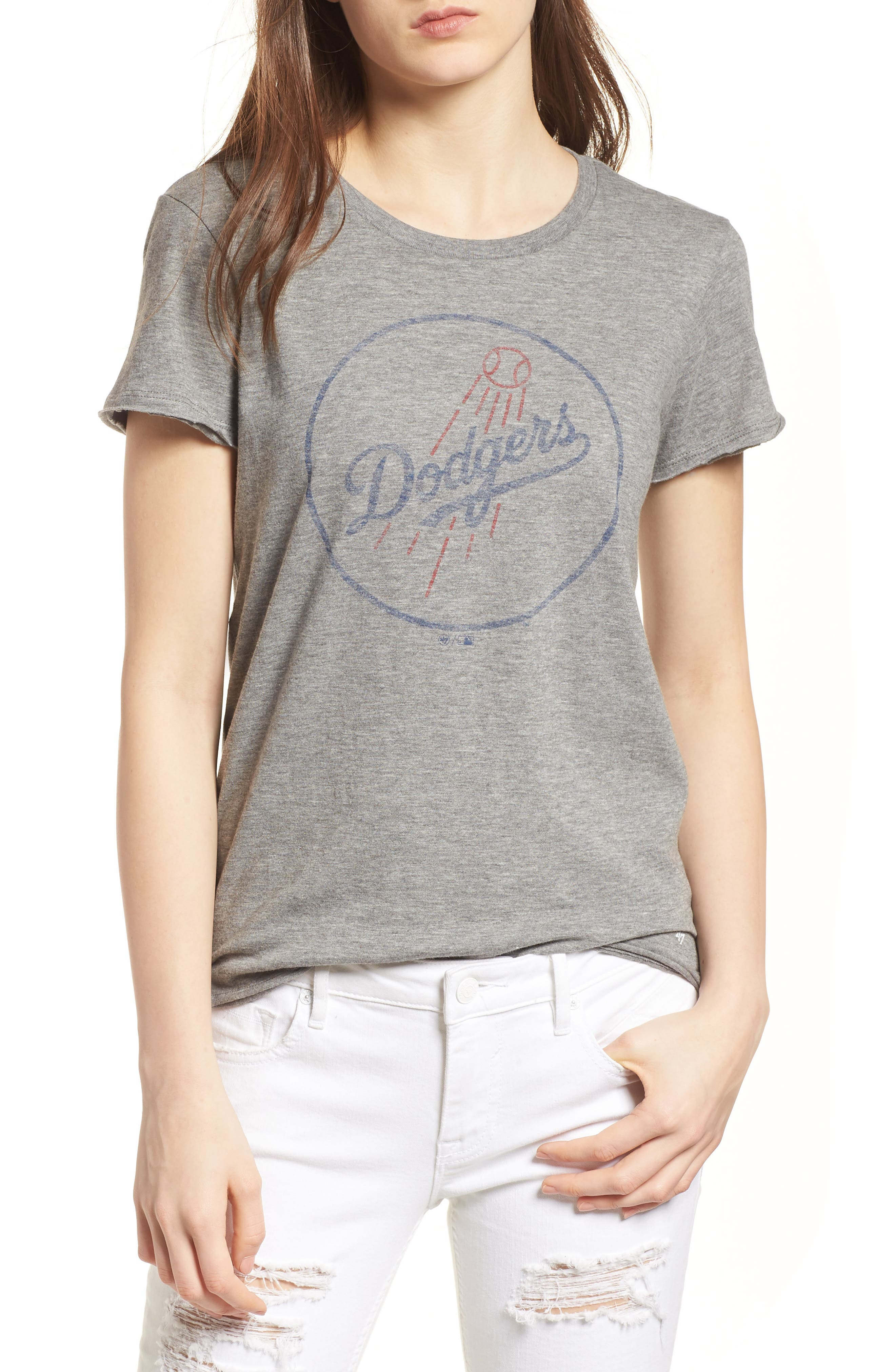 Los Angeles Dodgers Fader Letter Tee,                             Main thumbnail 1, color,                             Slate Grey