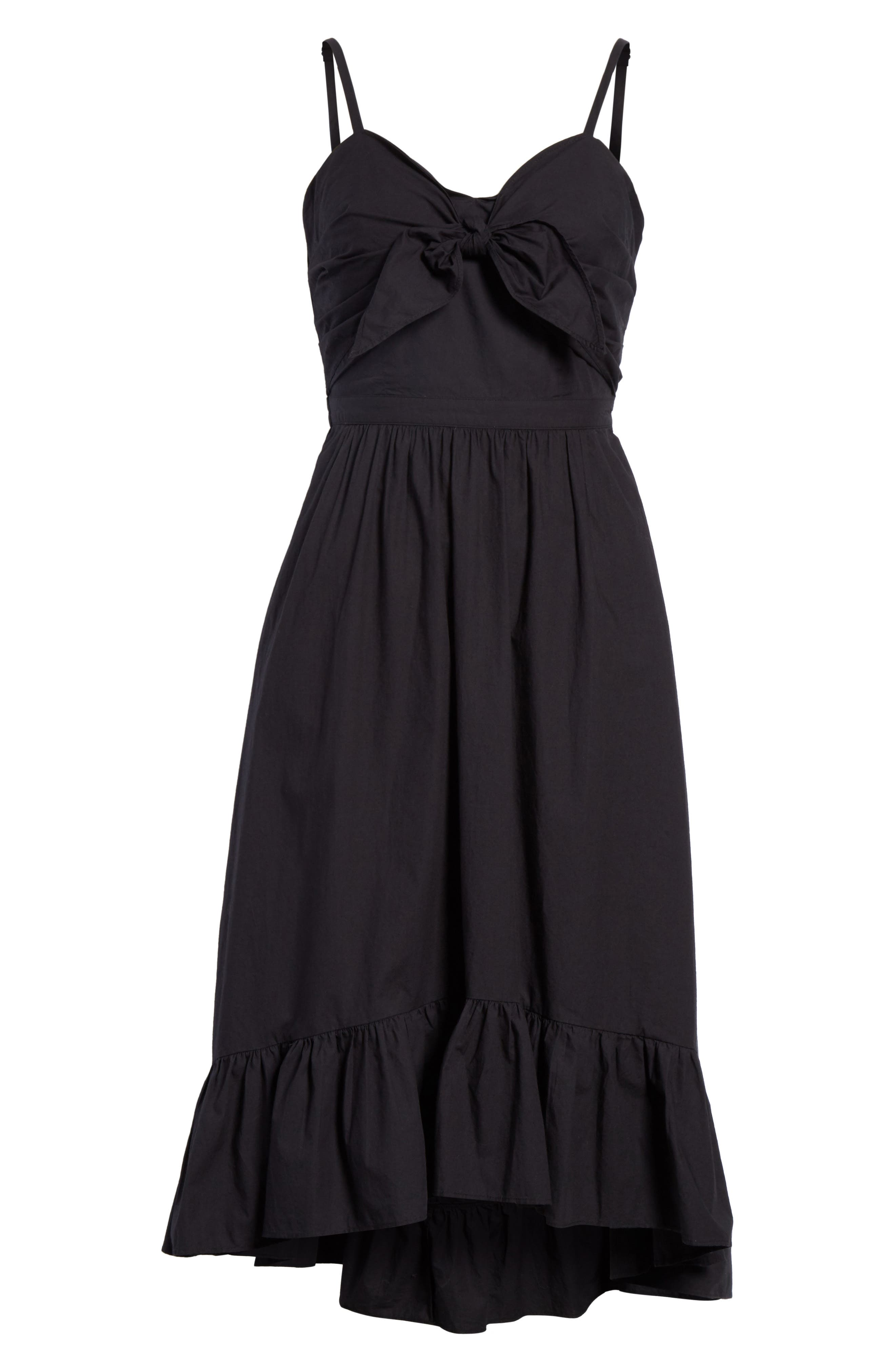 Clorinda Tie Front Cutout Cotton Dress,                             Alternate thumbnail 7, color,                             Caviar