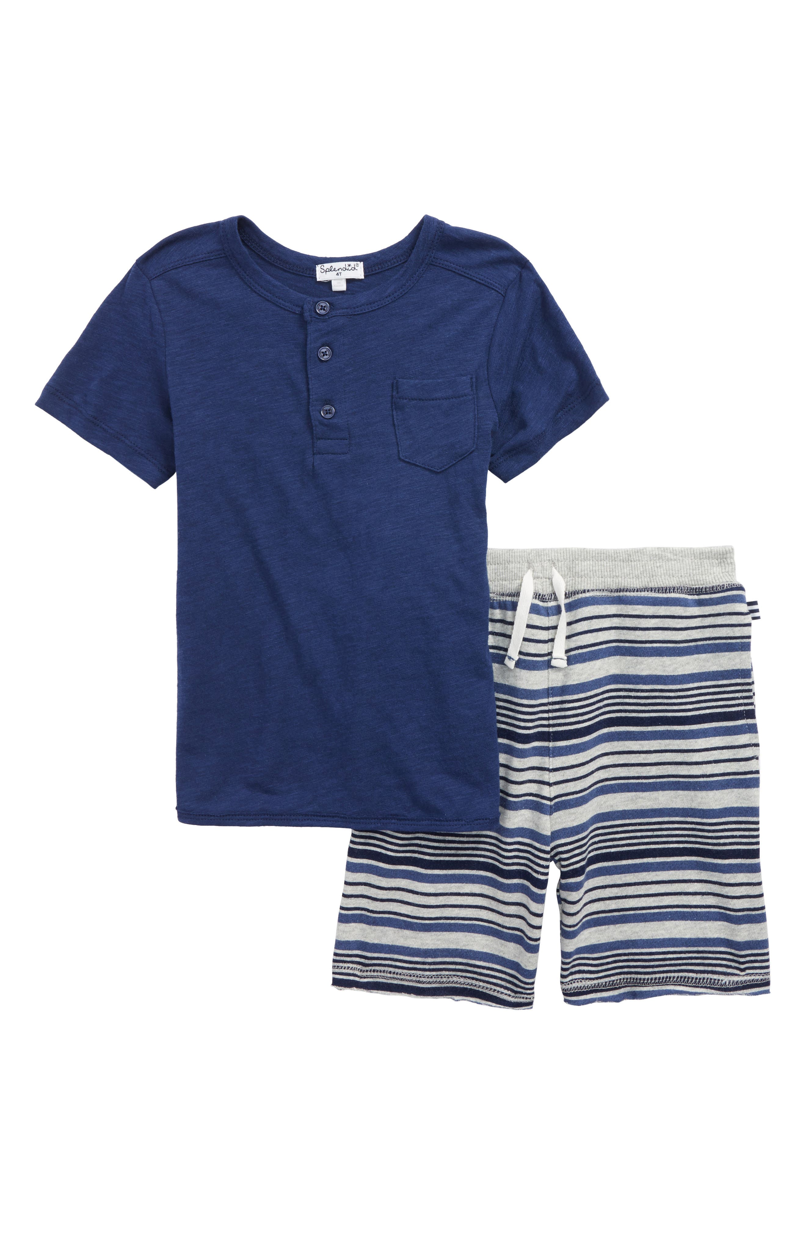 Henley Shirt & Knit Shorts Set,                         Main,                         color, Indigo Sky