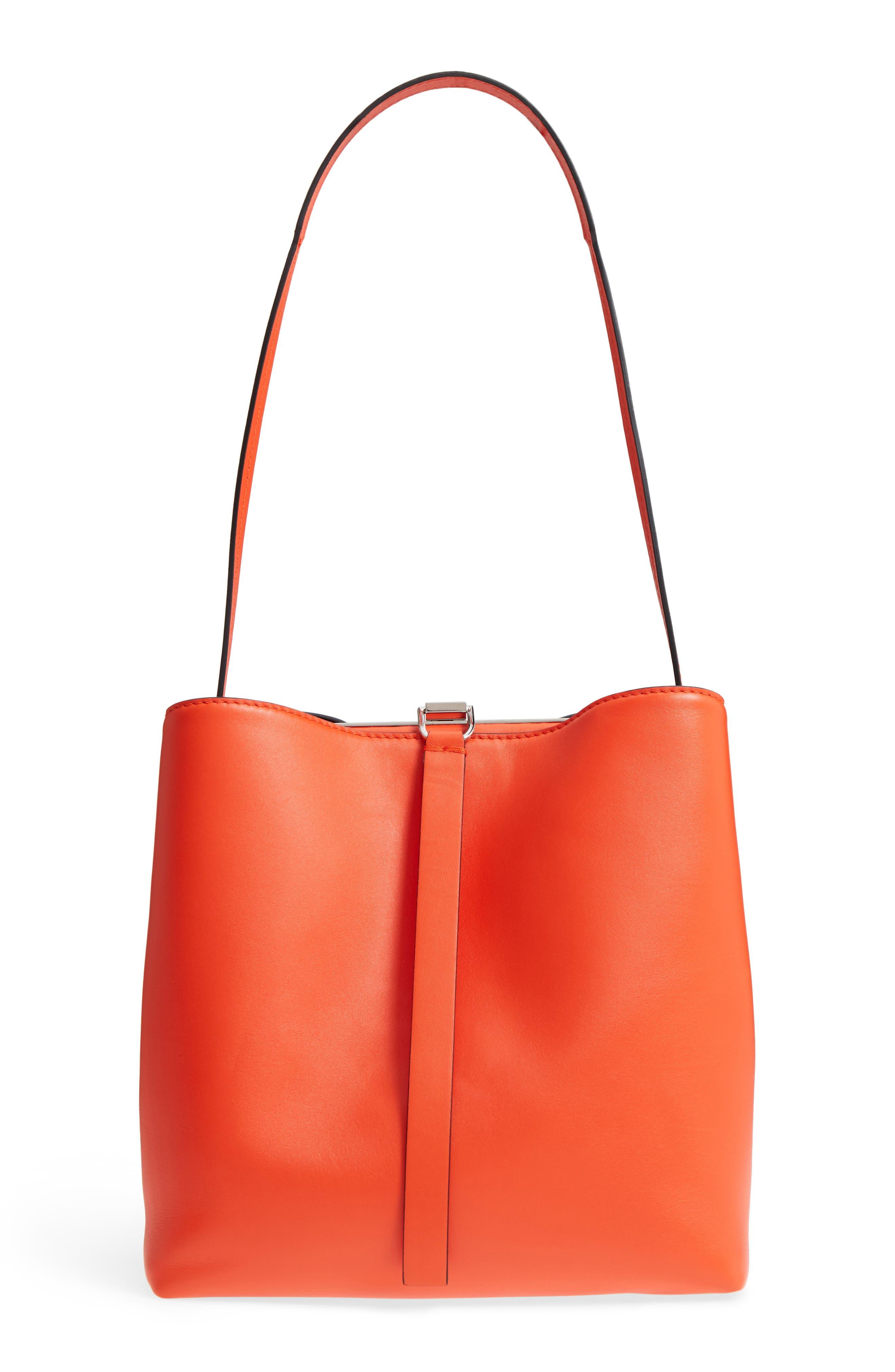 Frame Leather Shoulder Bag,                             Main thumbnail 1, color,                             Orange