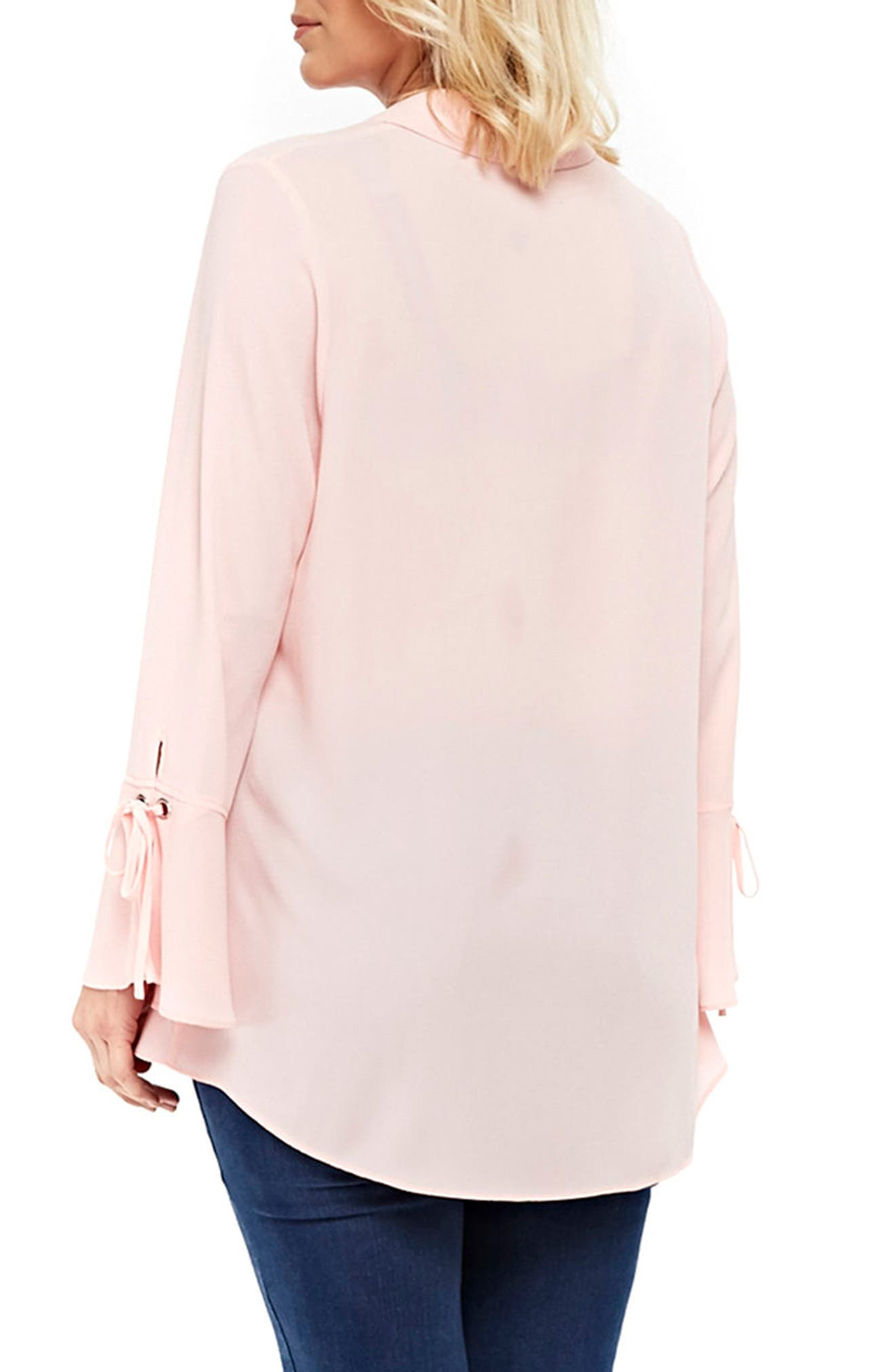 Lace-Up Cuff Shirt,                             Alternate thumbnail 2, color,                             Pale Pink
