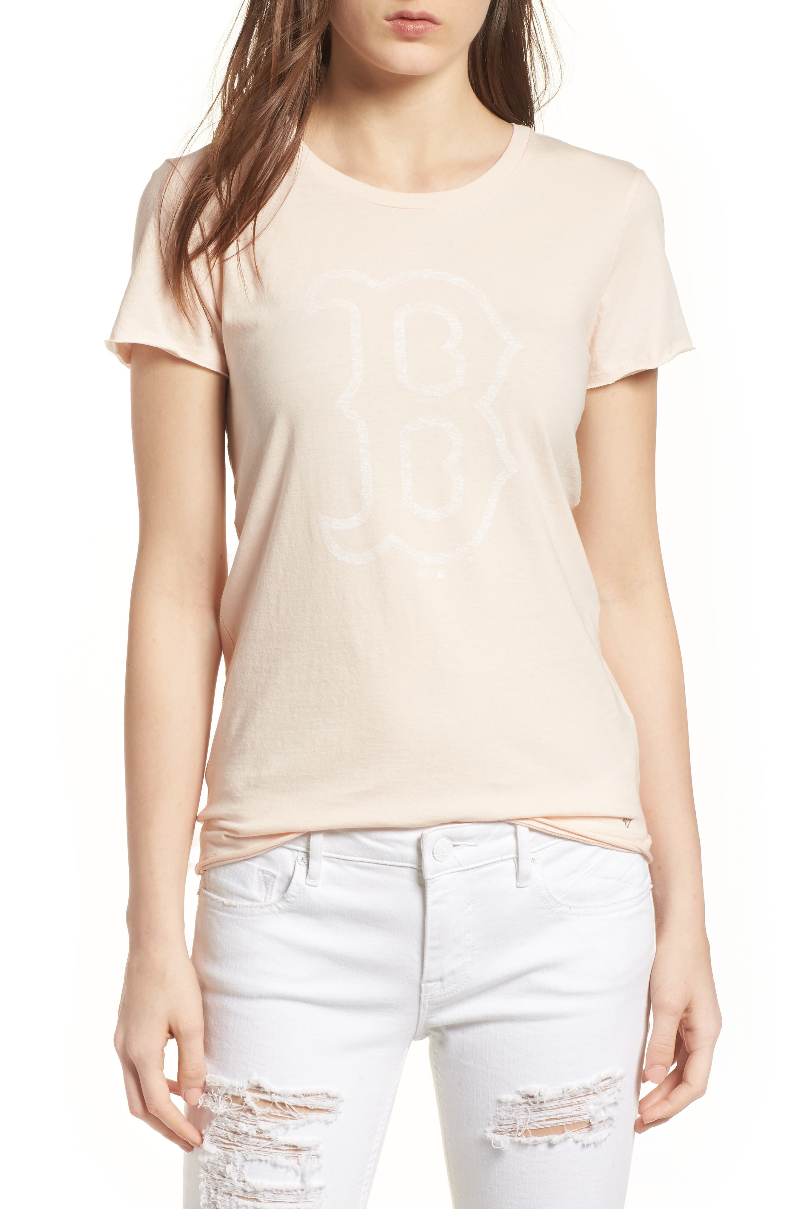 Boston Red Sox Fader Letter Tee,                         Main,                         color, Blush