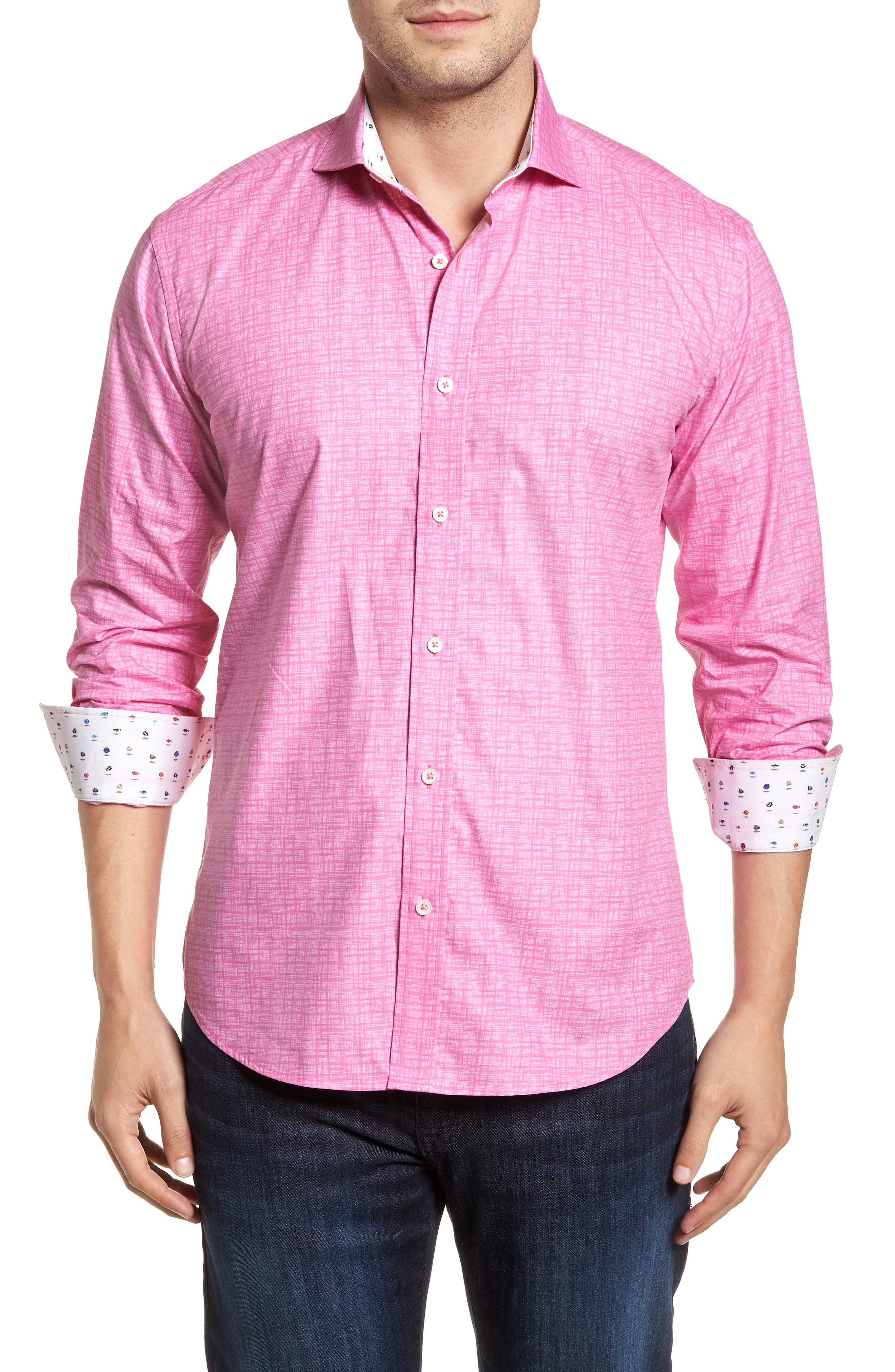 Freehand Shaped Fit Sport Shirt,                             Main thumbnail 1, color,                             Pink