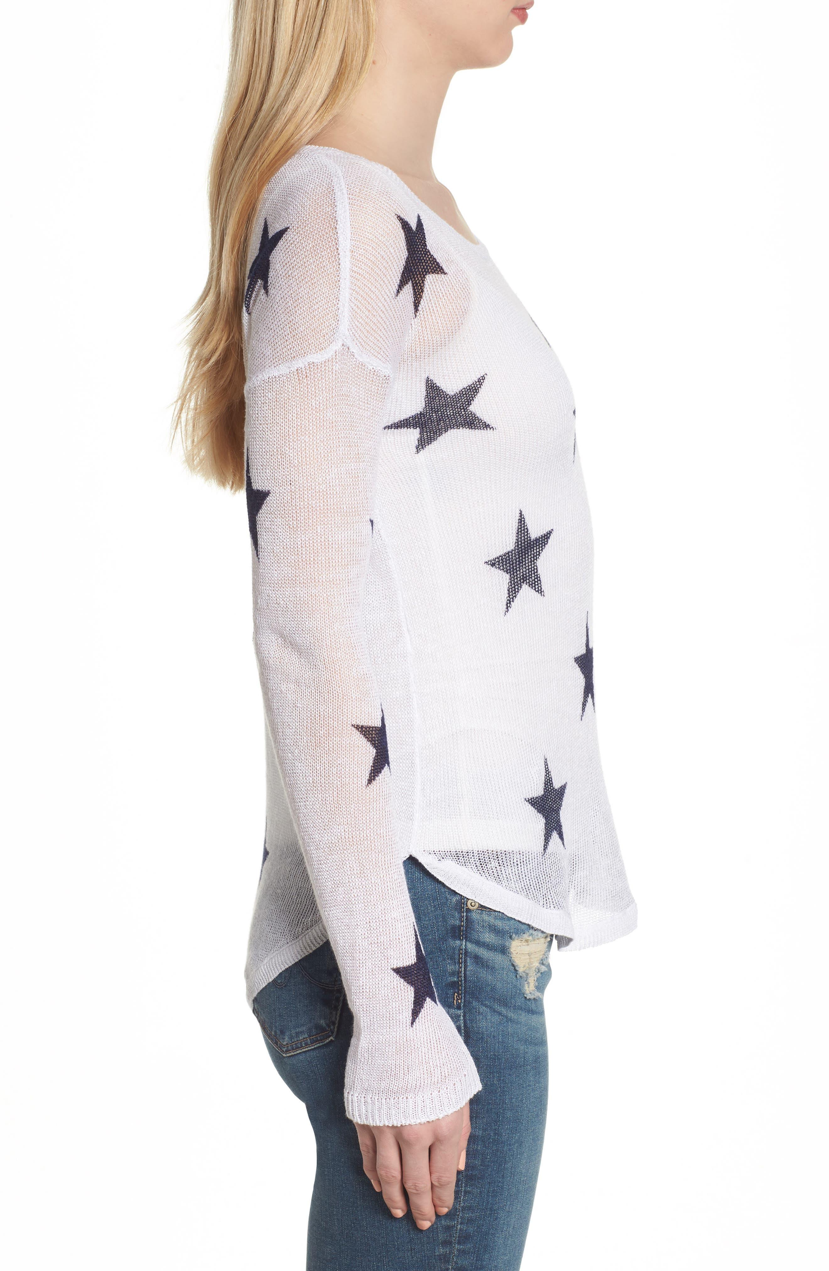 Perri Linen Sweater,                             Alternate thumbnail 3, color,                             White Navy Stars