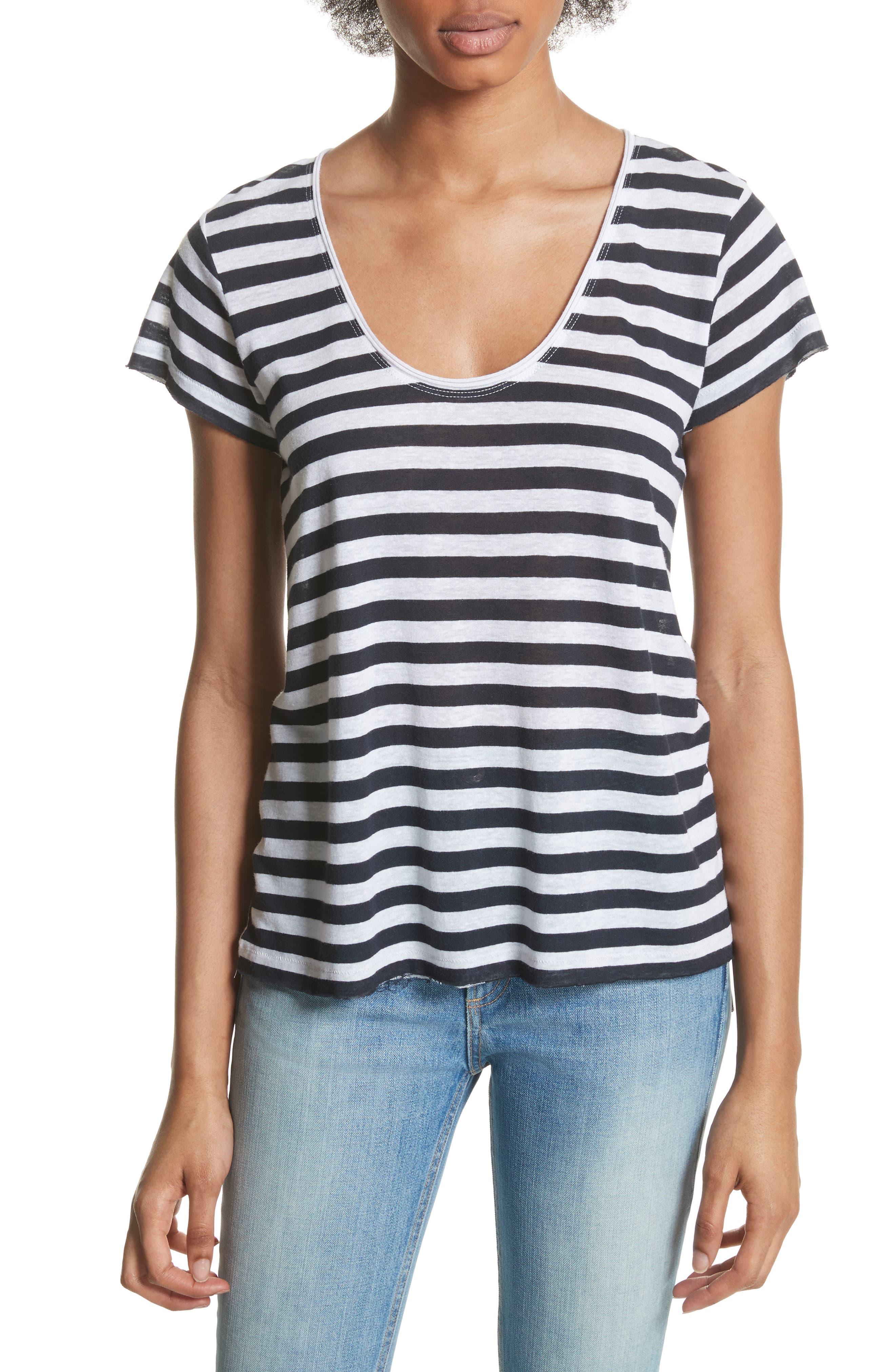Laila Stripe Tee,                         Main,                         color, Navy/ White