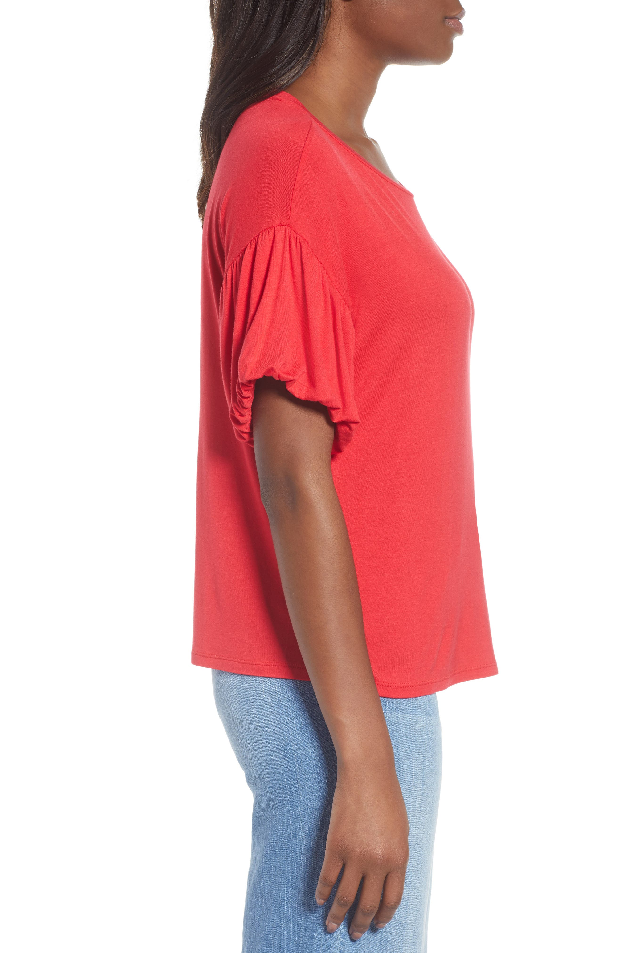 Knit Bubble Sleeve Tee,                             Alternate thumbnail 3, color,                             Red Lipstick