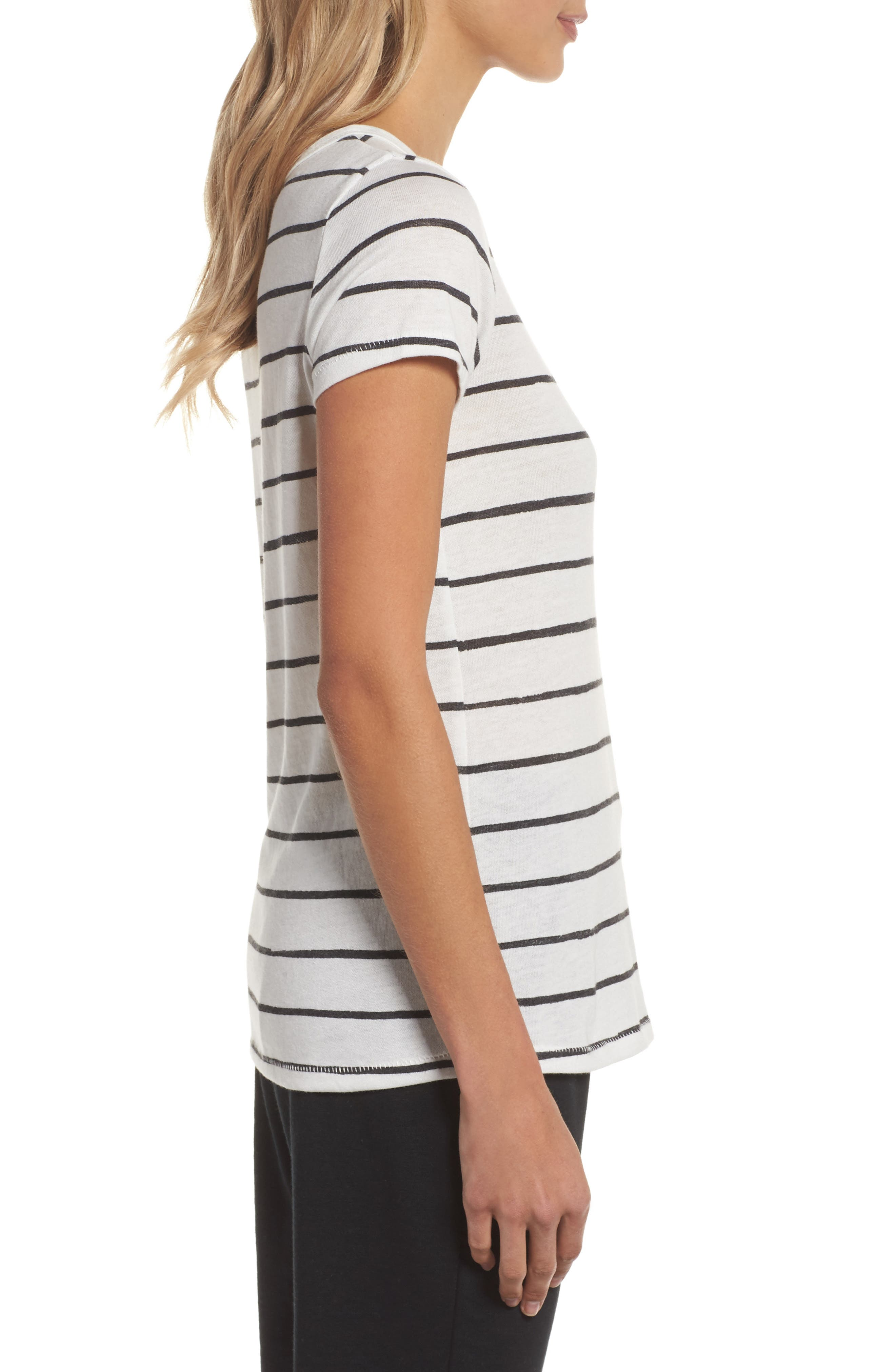 Ideal Print Tee,                             Alternate thumbnail 3, color,                             Eco Ivory Ink Stripe