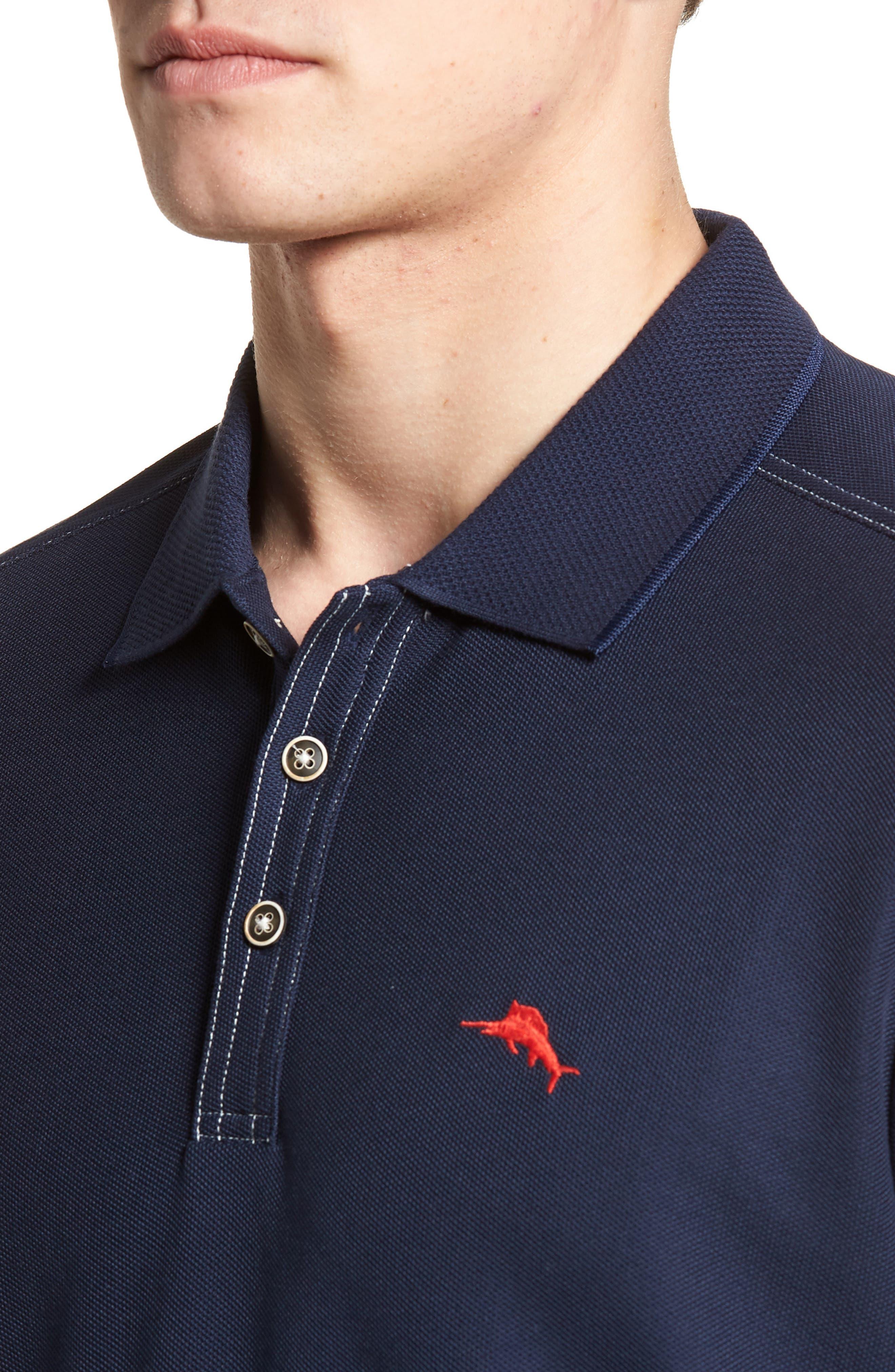 Emfielder Long Sleeve Polo,                             Alternate thumbnail 4, color,                             Blue Note