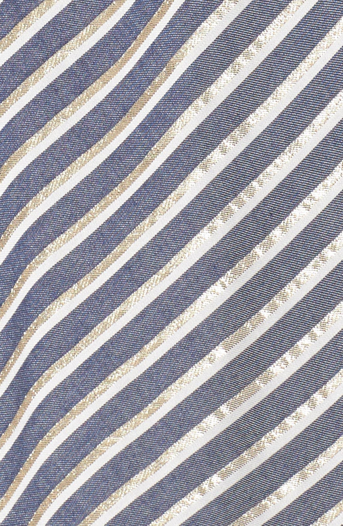 Stripe Asymmetrical Ruffle Shirtdress,                             Alternate thumbnail 6, color,                             True Navy Combo