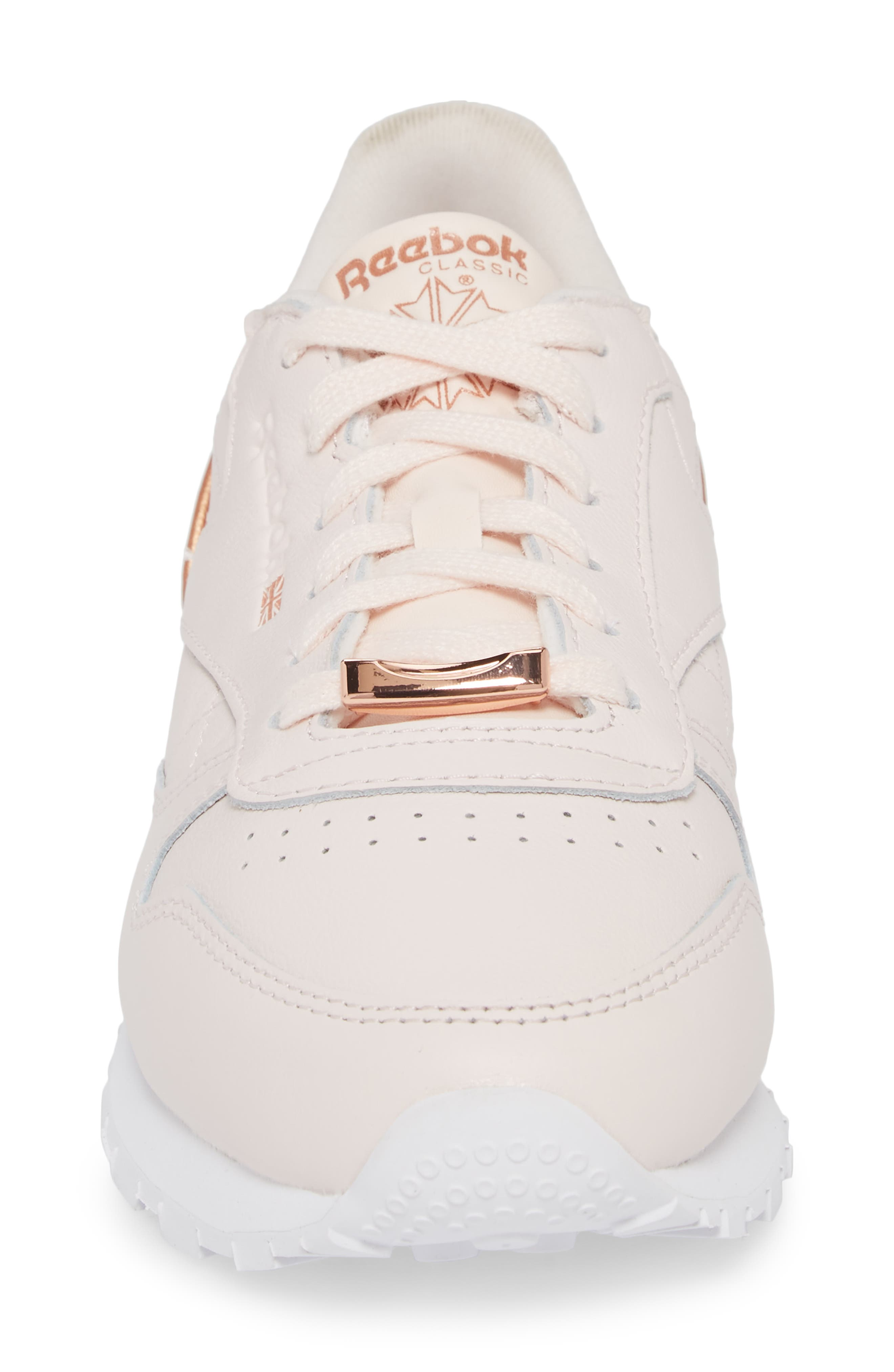 Classic Leather HW Sneaker,                             Alternate thumbnail 4, color,                             Pale Pink/ White/ Rose Gold