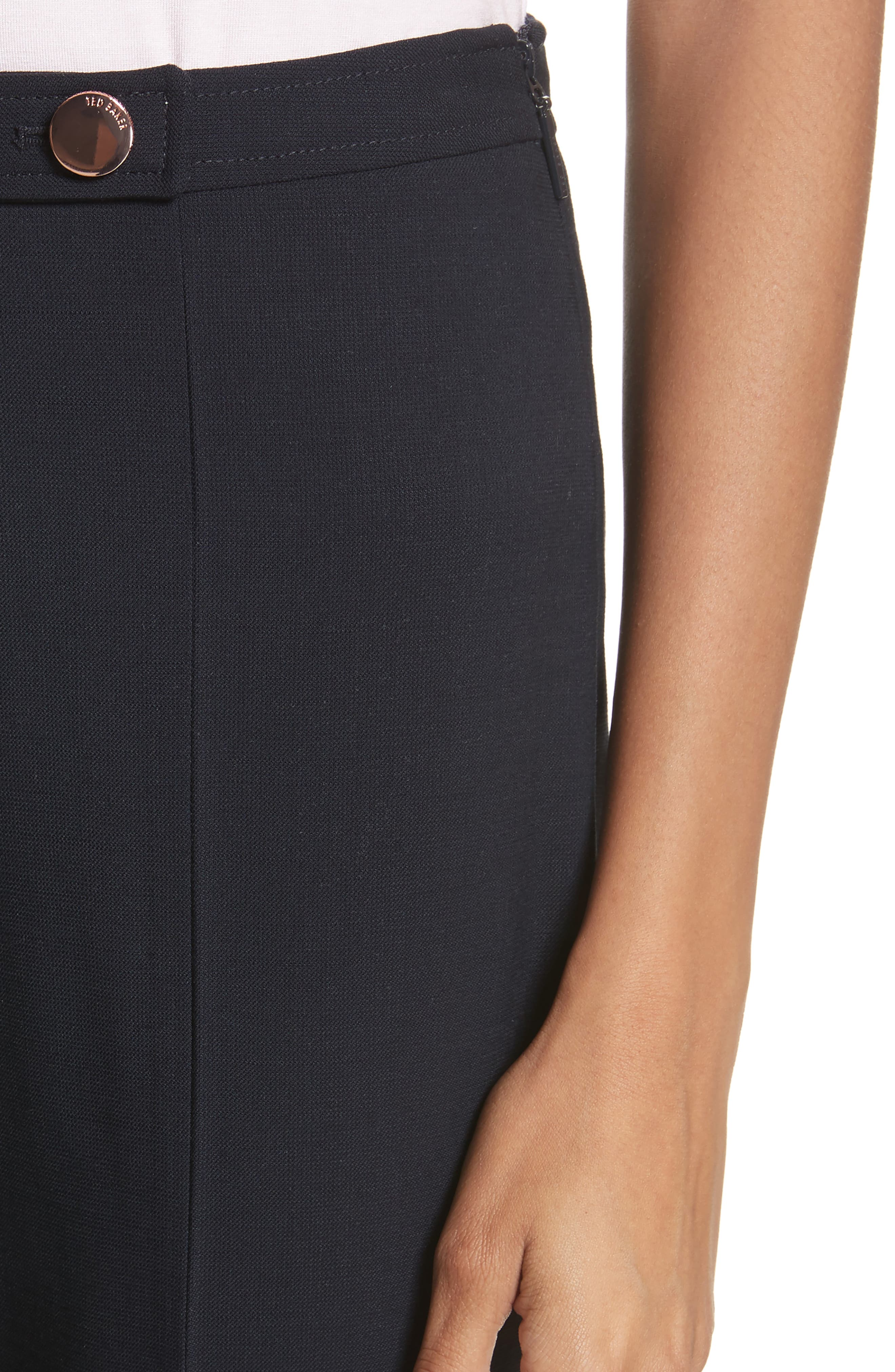 Front Slit Skinny Trousers,                             Alternate thumbnail 4, color,                             Navy