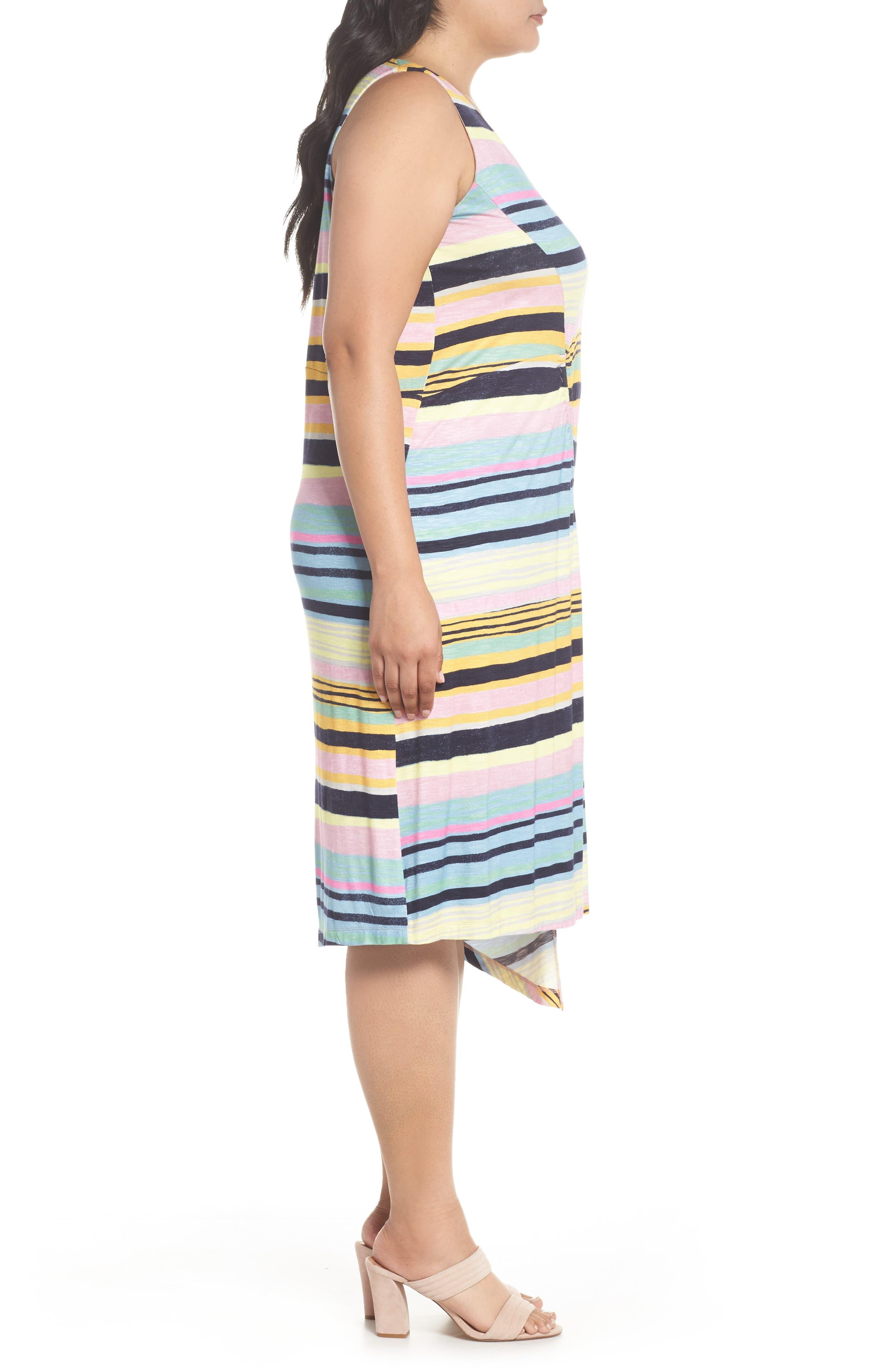 Asymmetrical Cinched Stripe Dress,                             Alternate thumbnail 3, color,                             Navy Combo