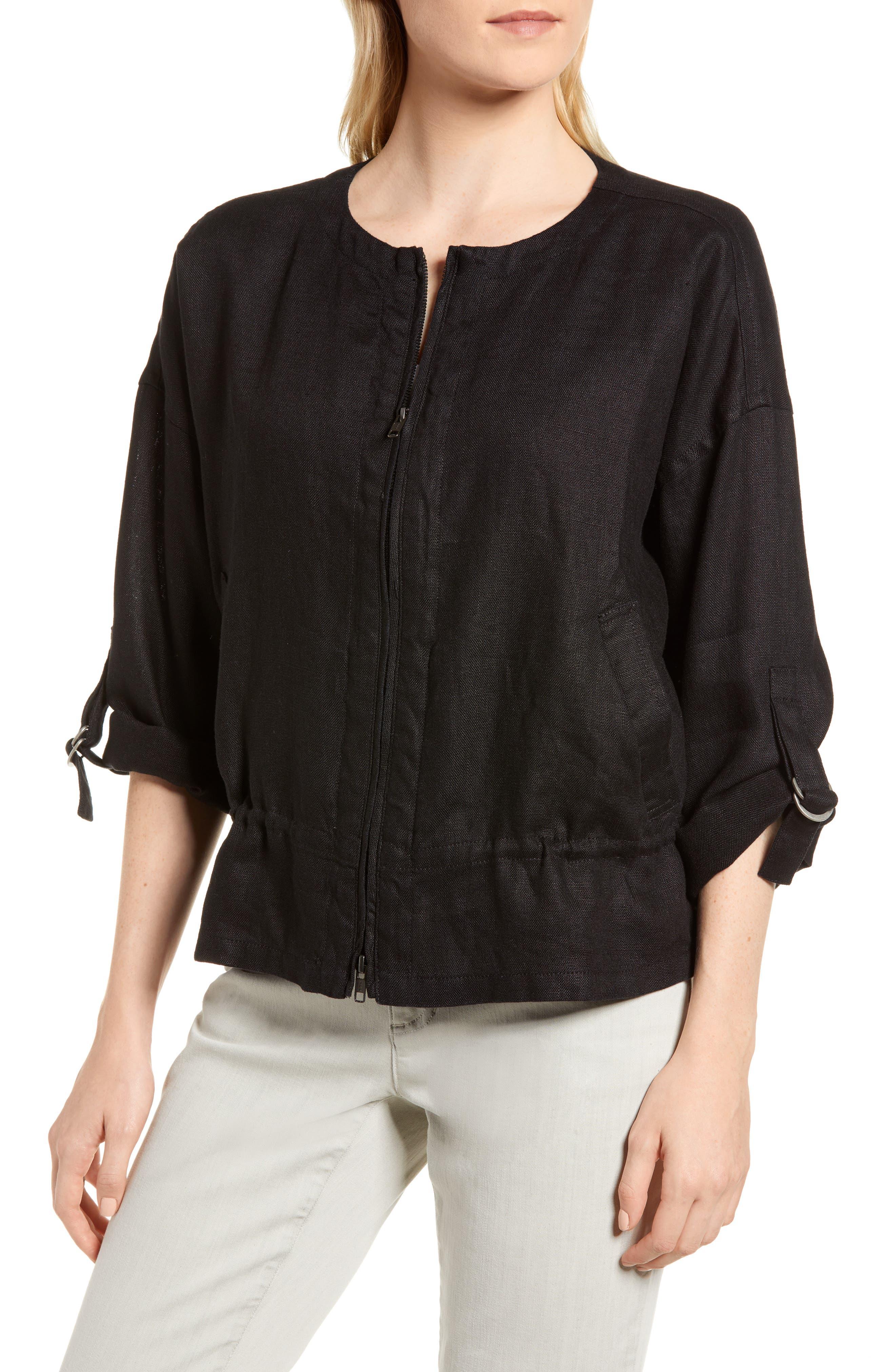 Drawstring Organic Linen Jacket,                             Alternate thumbnail 4, color,                             Black