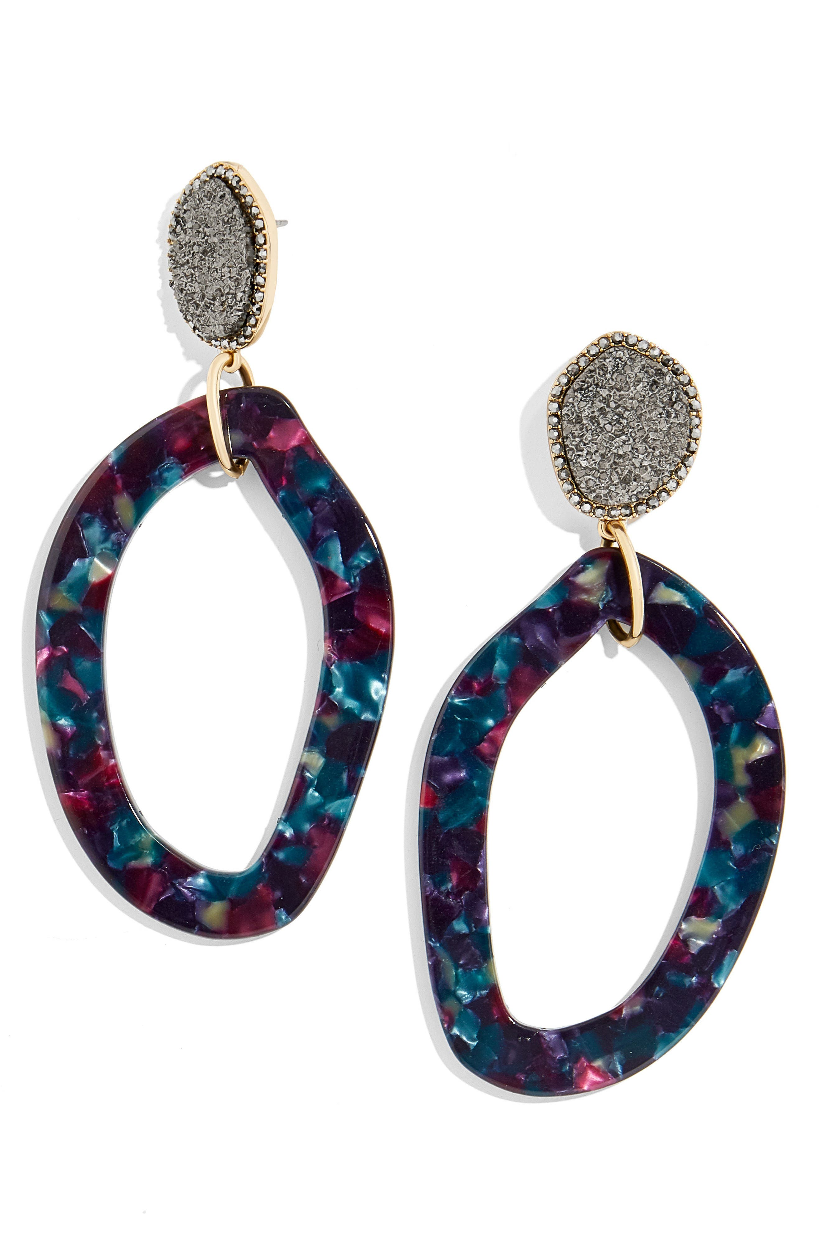 Tristana Drusy & Oval Drop Earrings,                             Main thumbnail 1, color,                             Black/ Pink