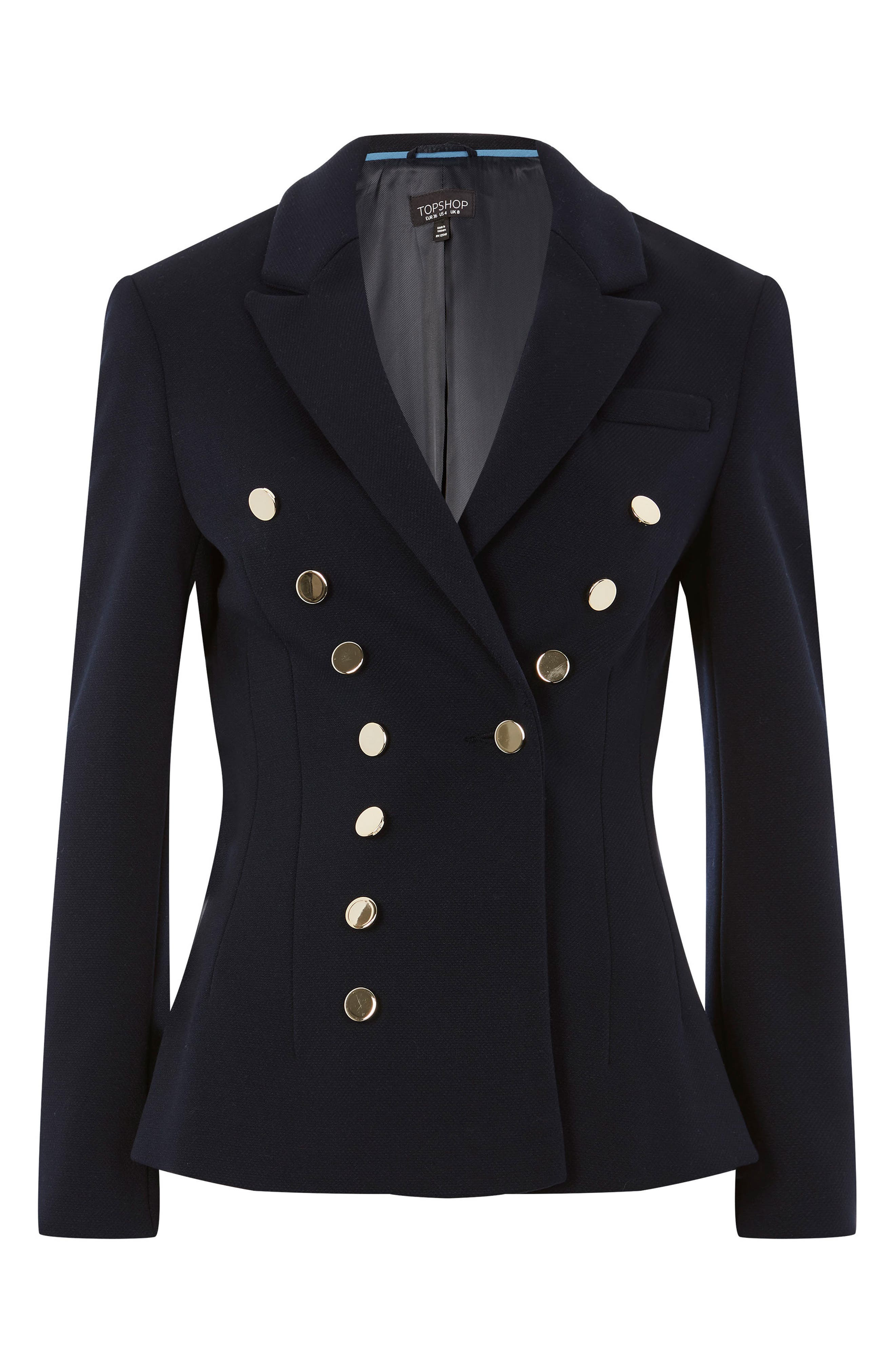 Golden Button Double Breasted Jacket,                             Alternate thumbnail 4, color,                             Navy Blue