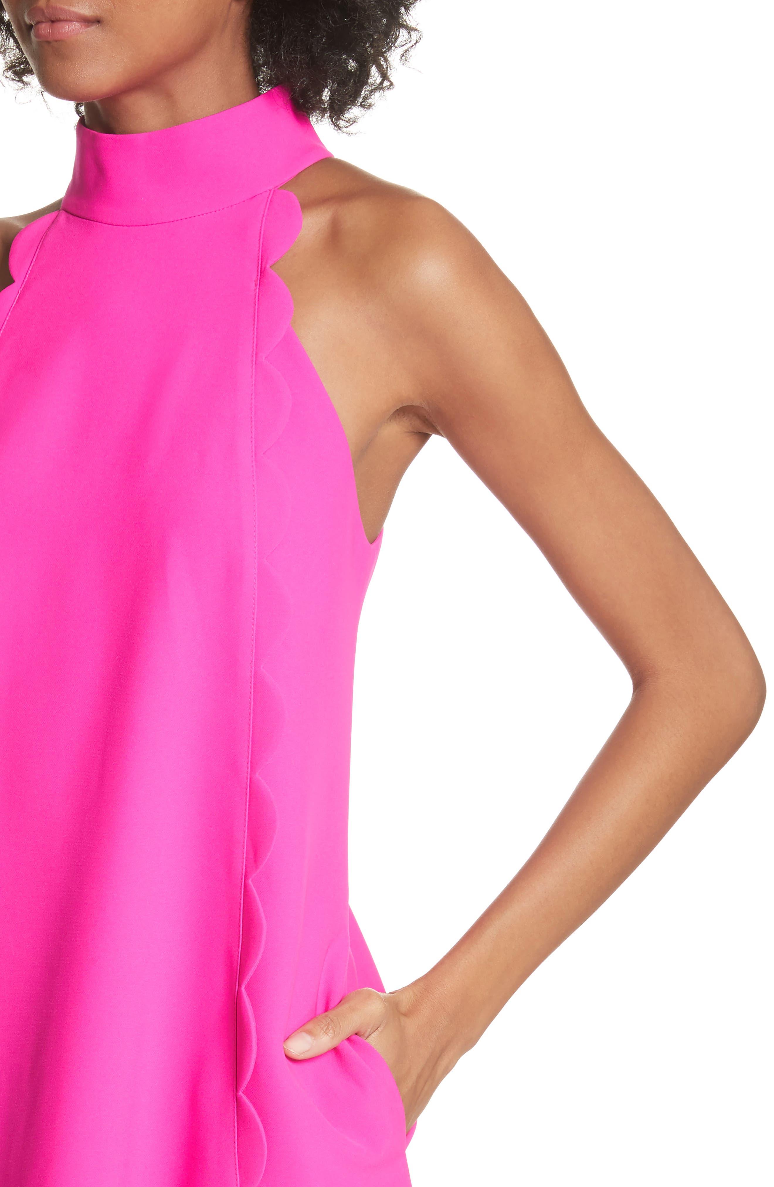 Torrii High Neck Tunic Dress,                             Alternate thumbnail 4, color,                             Bright Pink