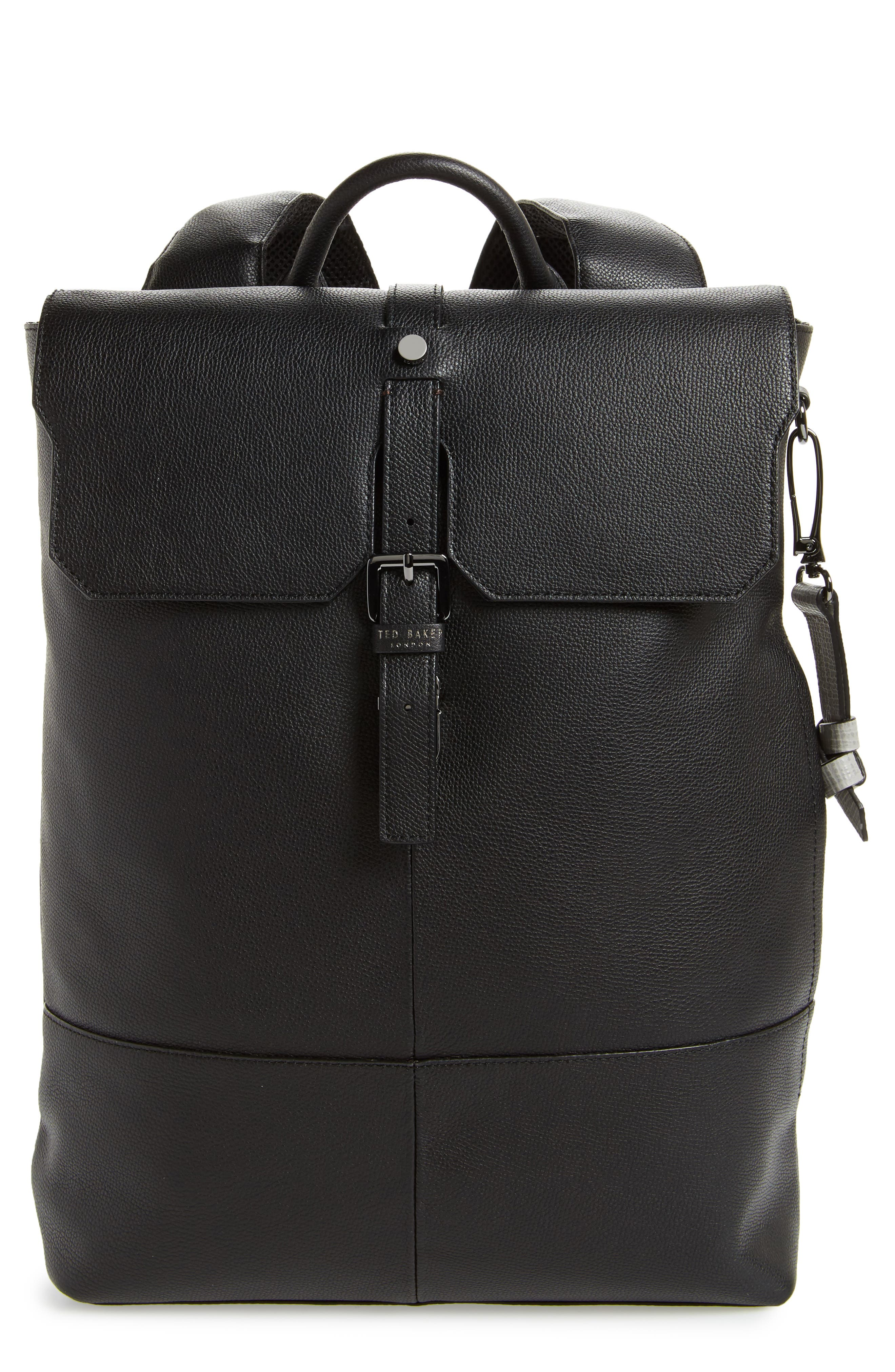 Beach Leather Backpack,                         Main,                         color, Black