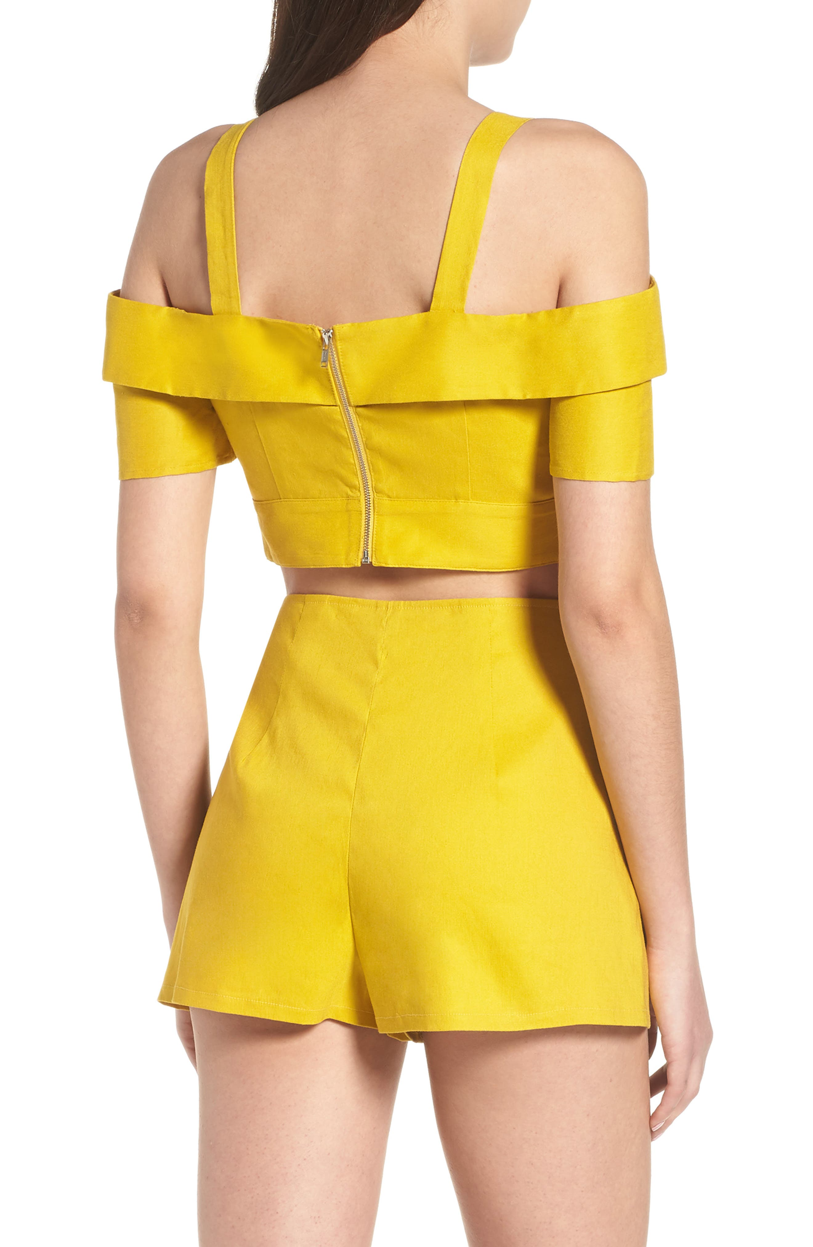 Cold Shoulder Crop Top,                             Alternate thumbnail 2, color,                             Yellow Tea