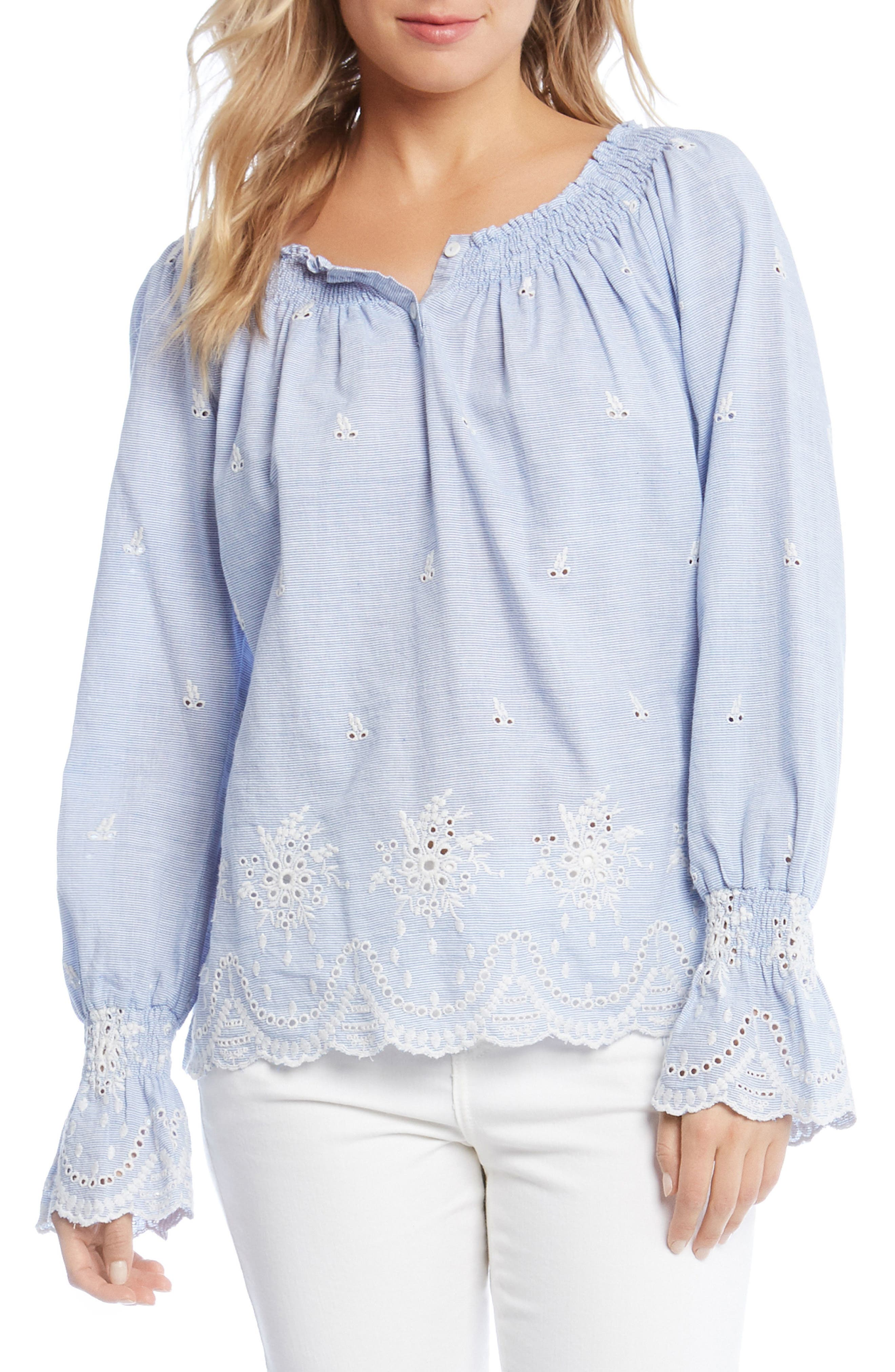 Bell Sleeve Embroidered Cotton Peasant Blouse,                             Main thumbnail 1, color,                             Striped