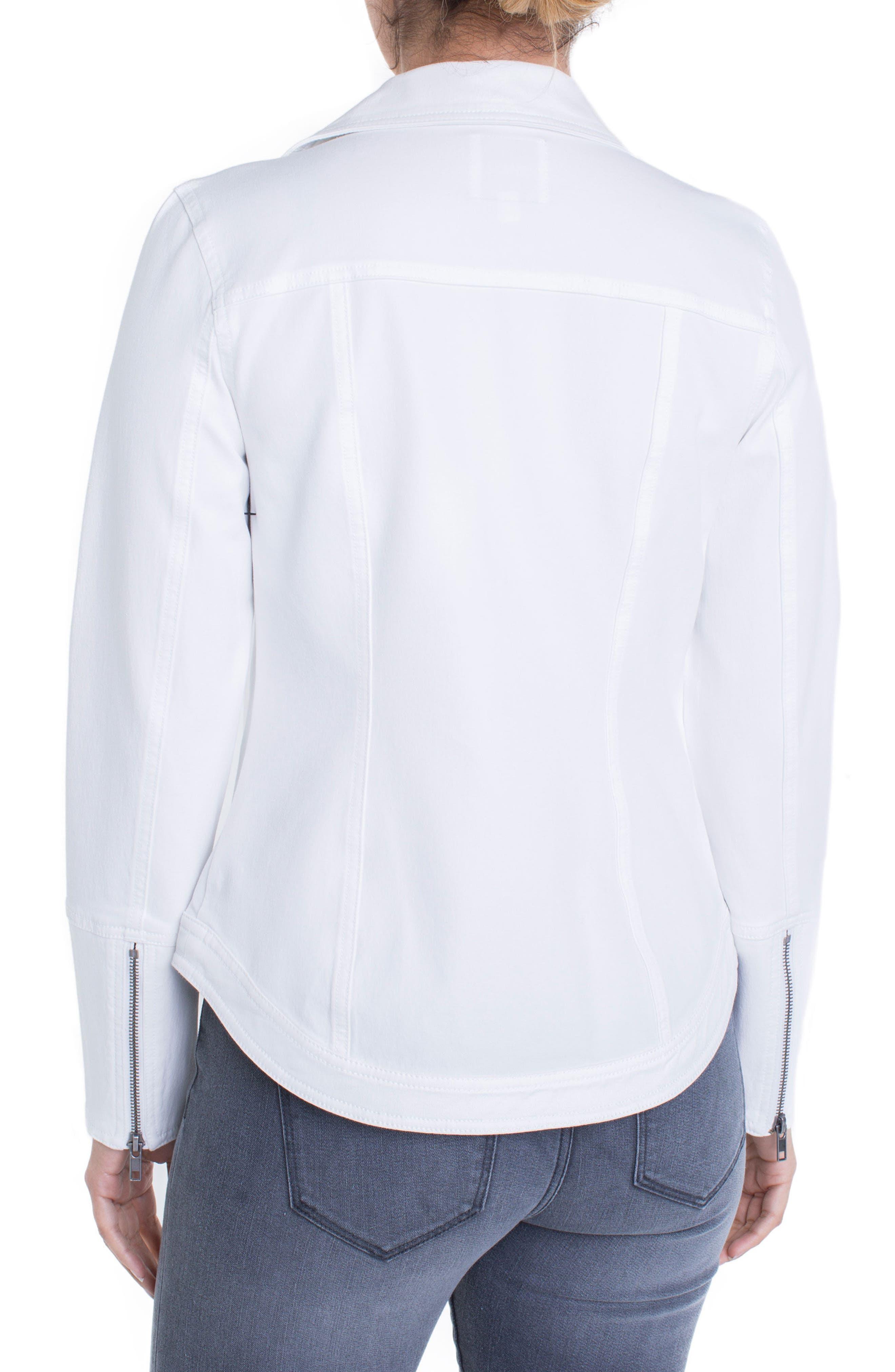 Stretch Cotton Moto Jacket,                             Alternate thumbnail 2, color,                             Bright White