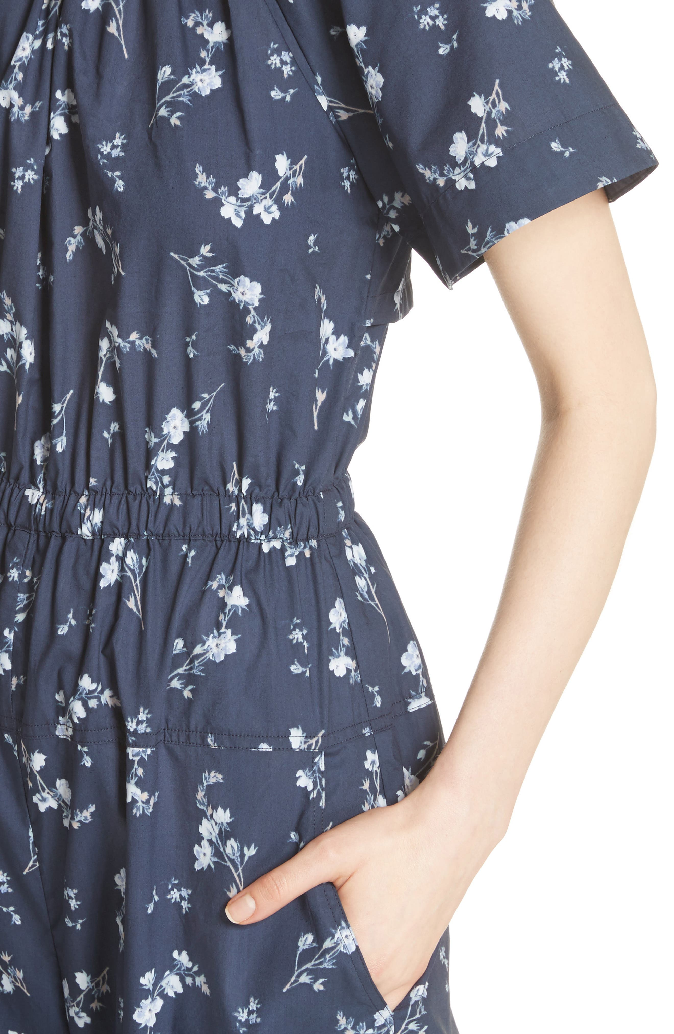 Francine Floral Print Jumpsuit,                             Alternate thumbnail 4, color,                             Navy Combo