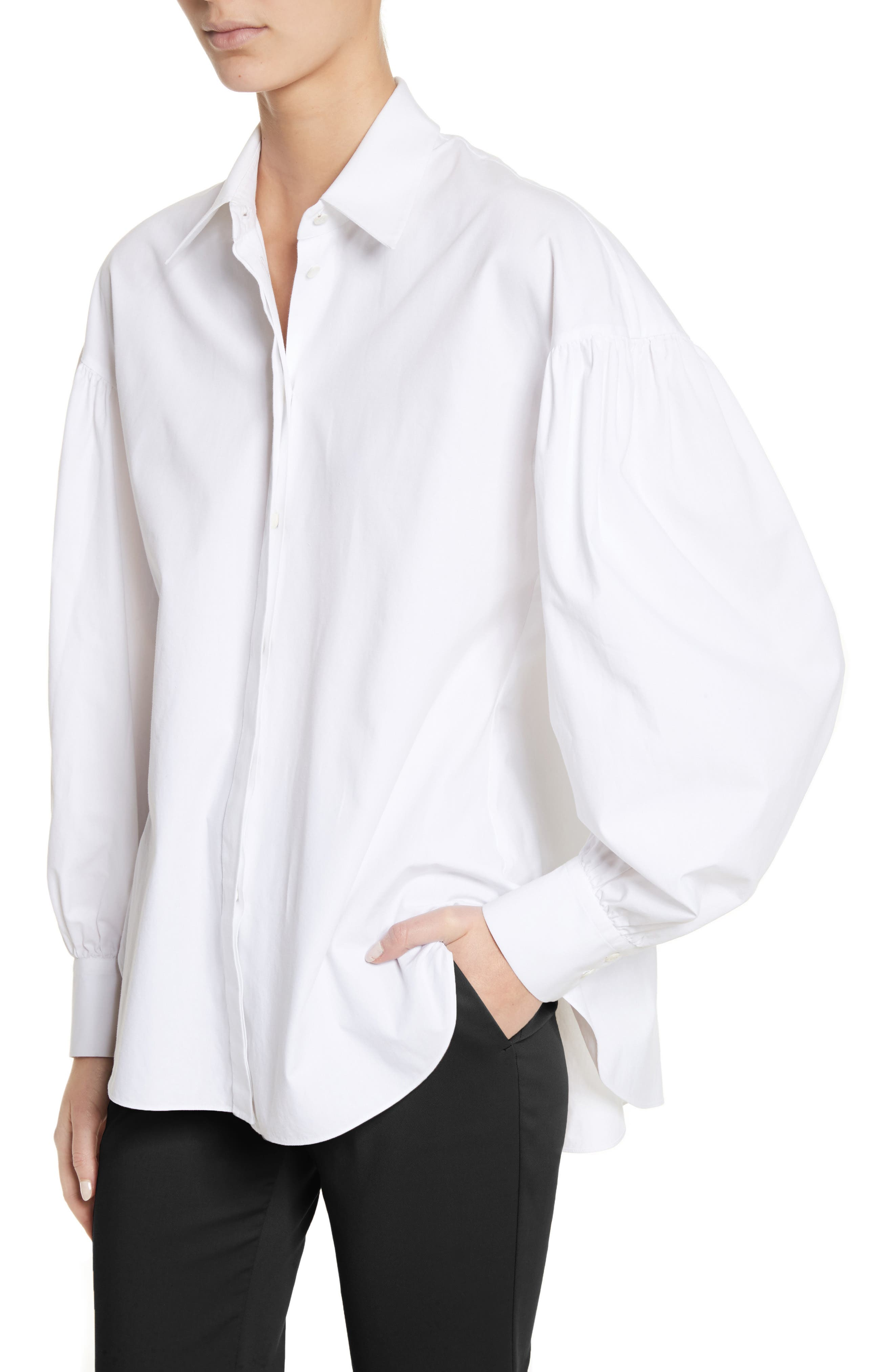 Puff Sleeve Shirt,                             Alternate thumbnail 4, color,                             White