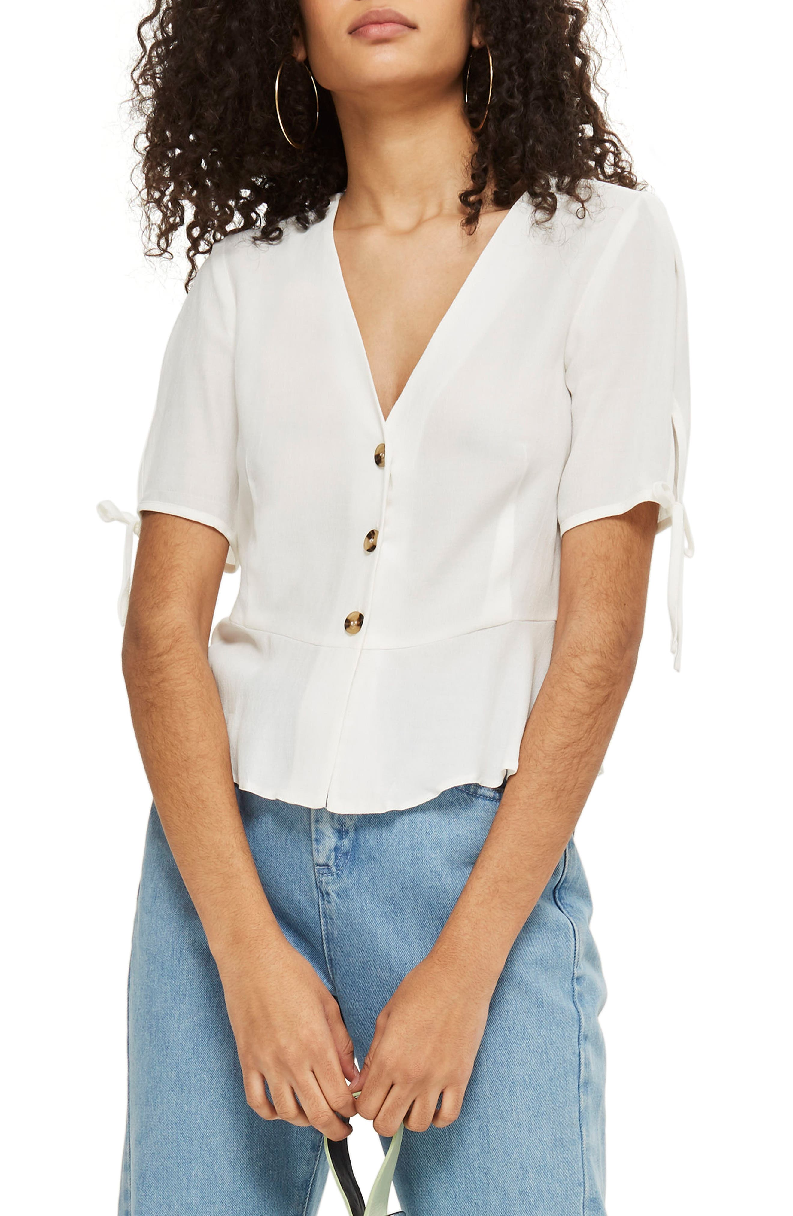 Bryony Tea Button Front Blouse,                         Main,                         color, Ivory