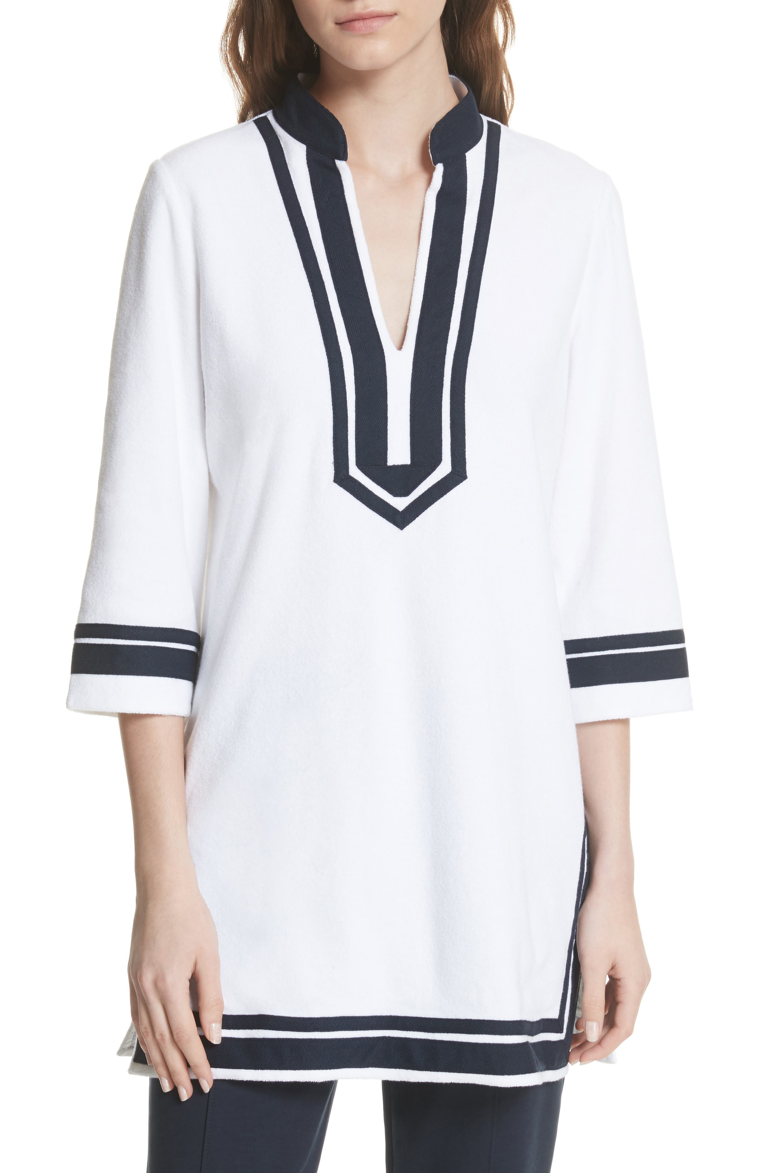 Tory Terry Cloth Tunic,                             Main thumbnail 1, color,                             White
