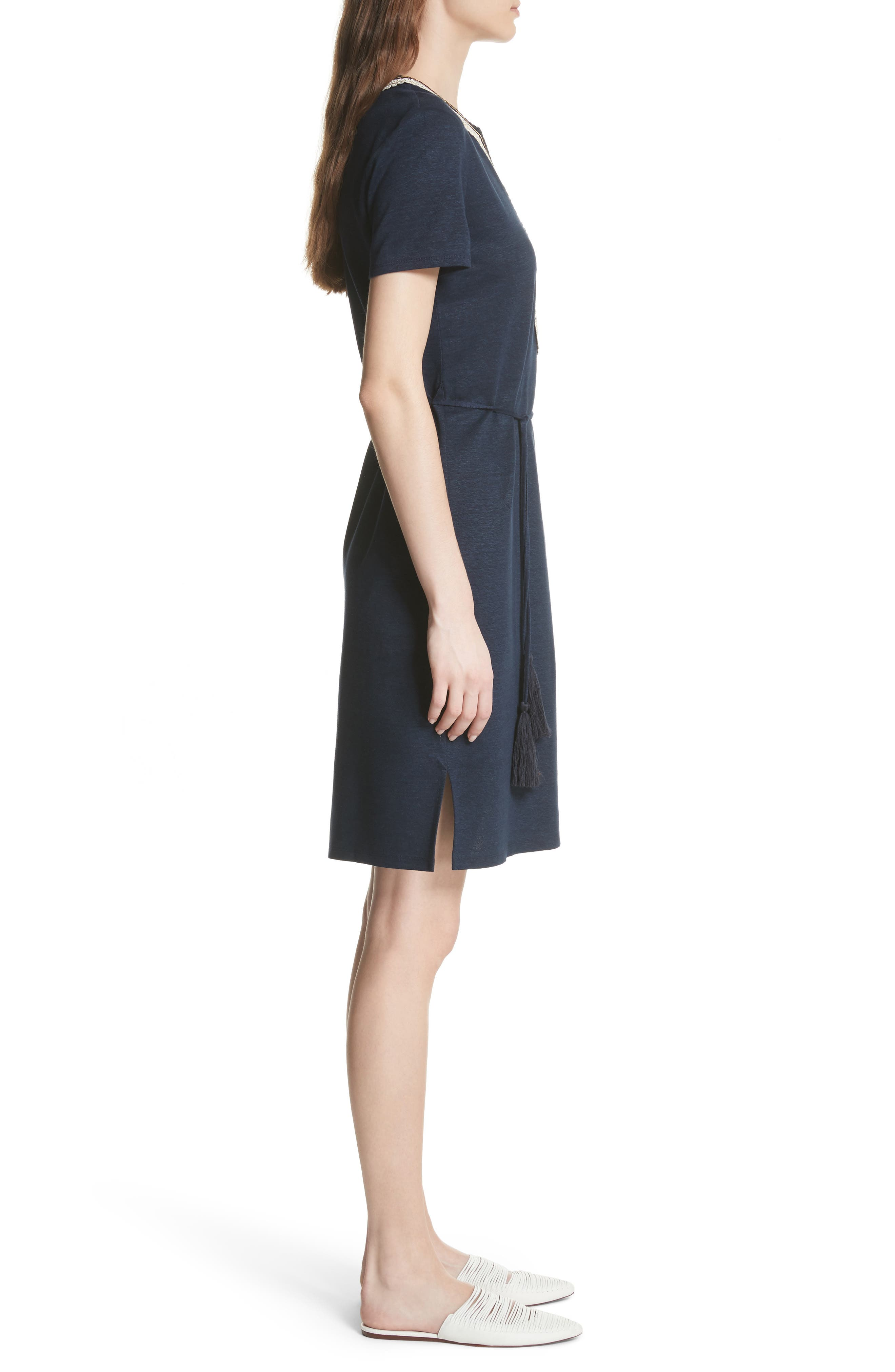Embroidered Knit Dress,                             Alternate thumbnail 3, color,                             Tory Navy