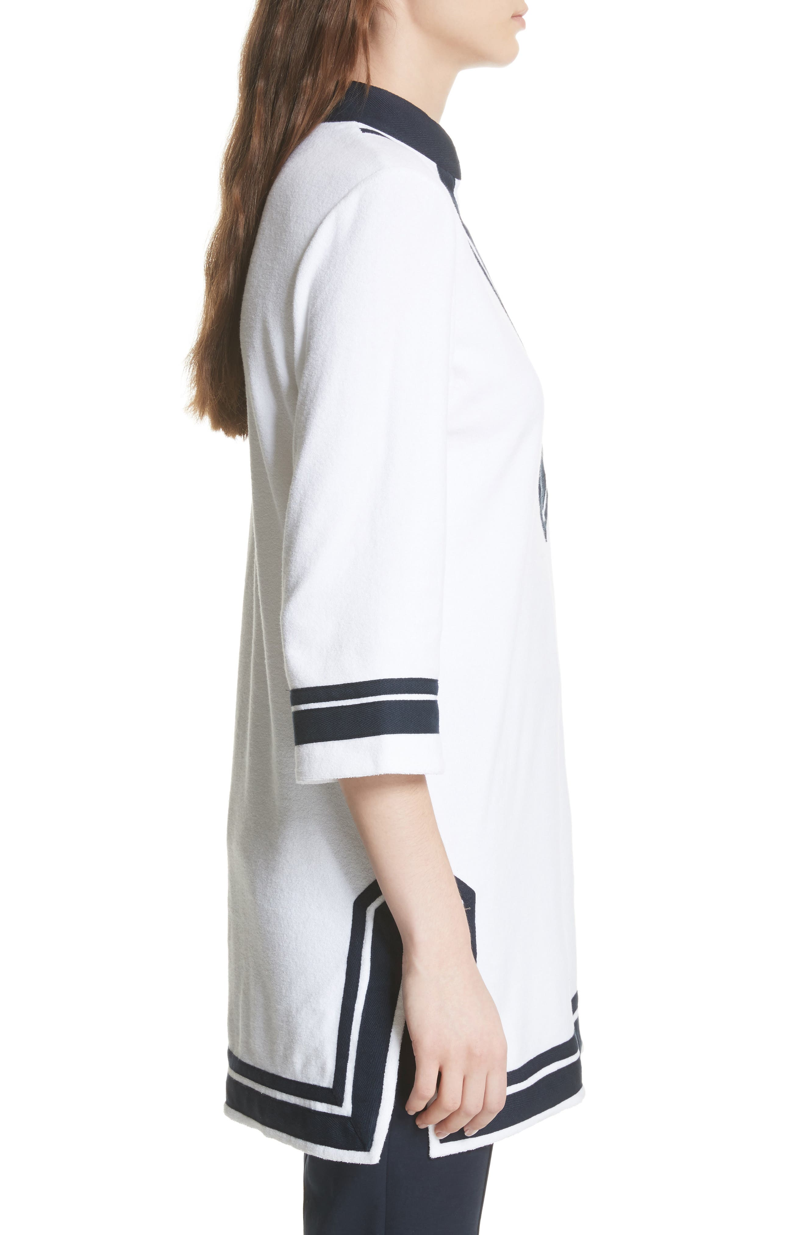 Tory Terry Cloth Tunic,                             Alternate thumbnail 3, color,                             White