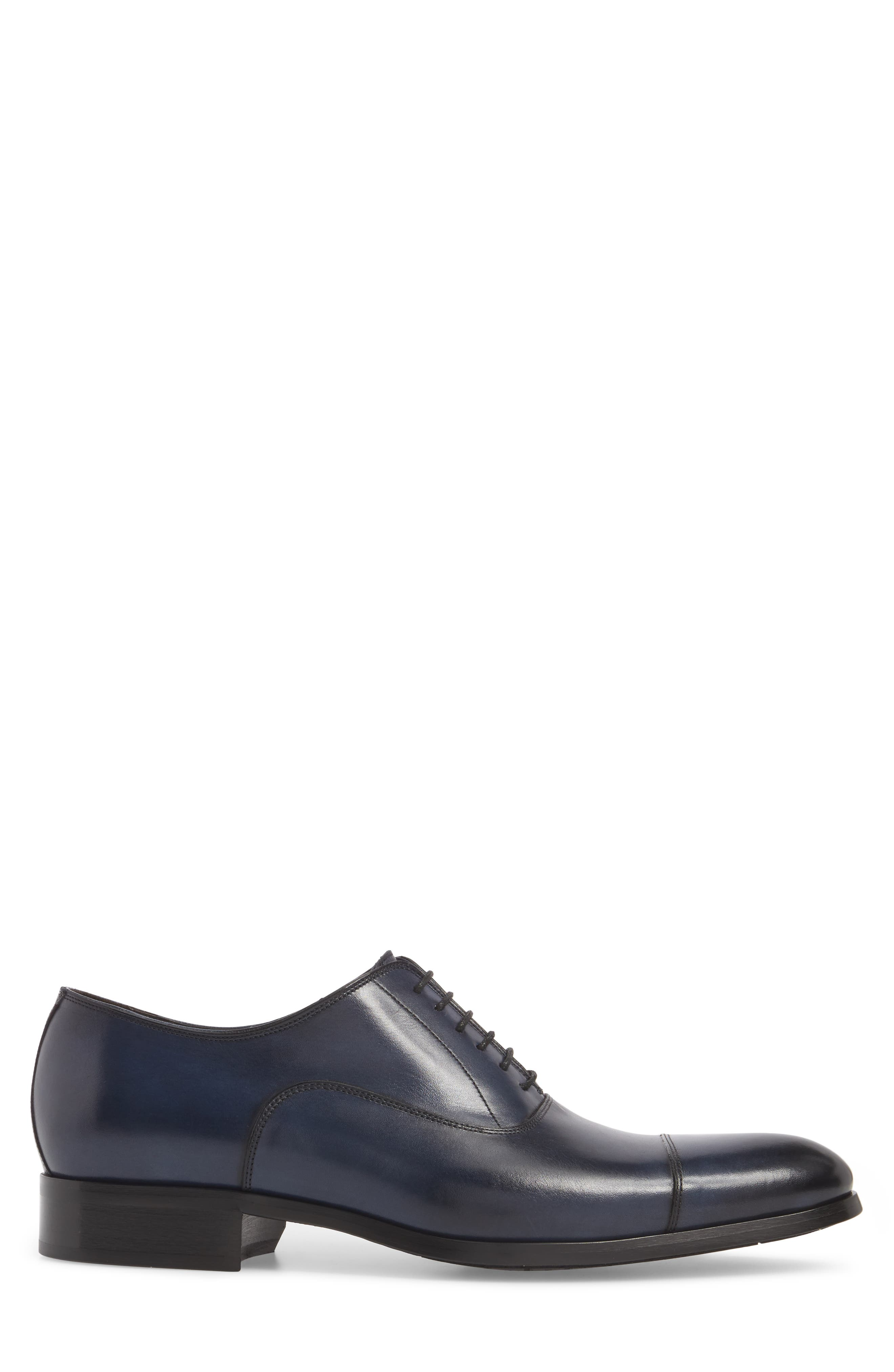 Hartcourt Cap Toe Oxford,                             Alternate thumbnail 3, color,                             Blue Leather