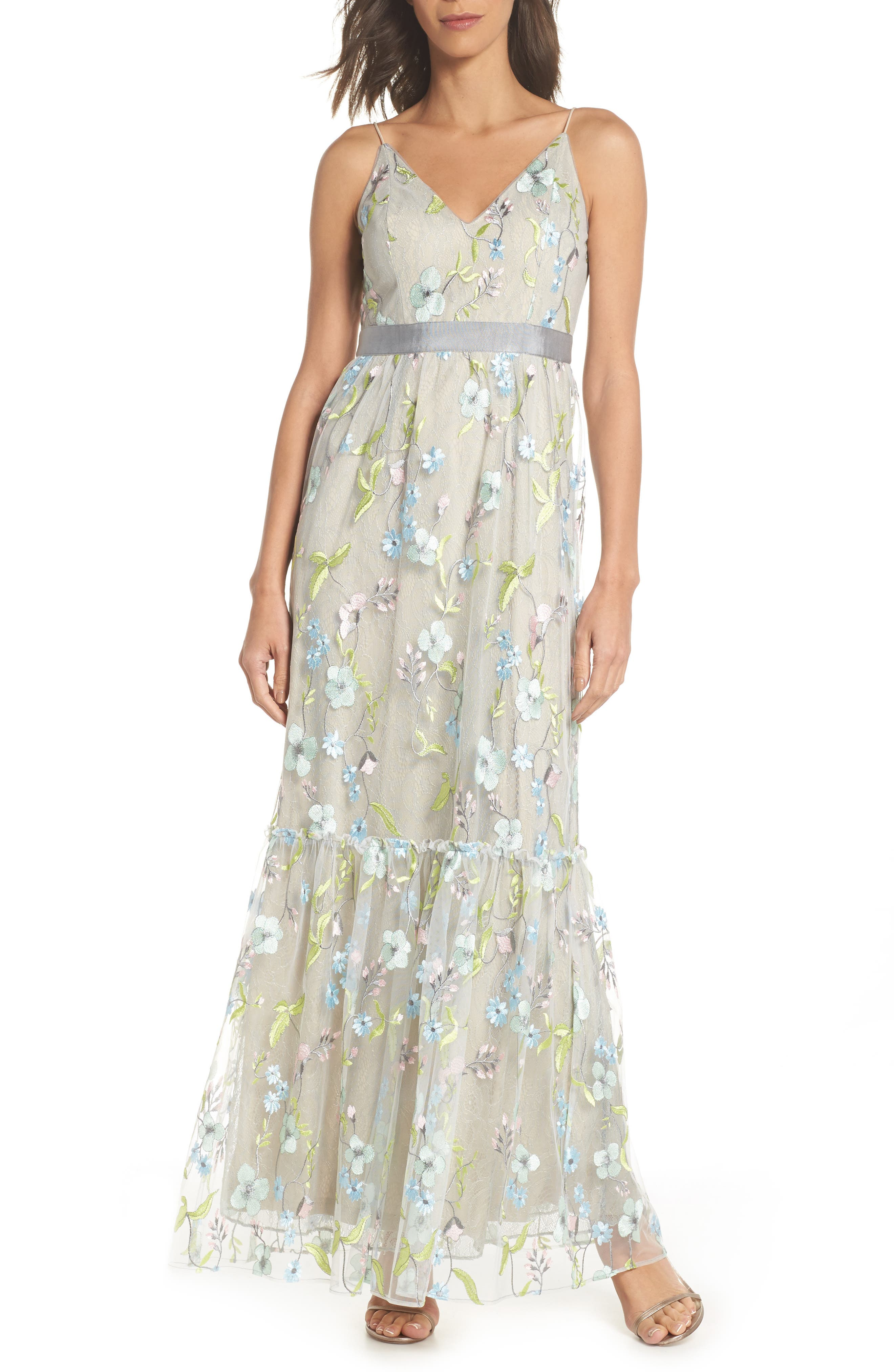 Embroidered Gown,                         Main,                         color, Lime Multi