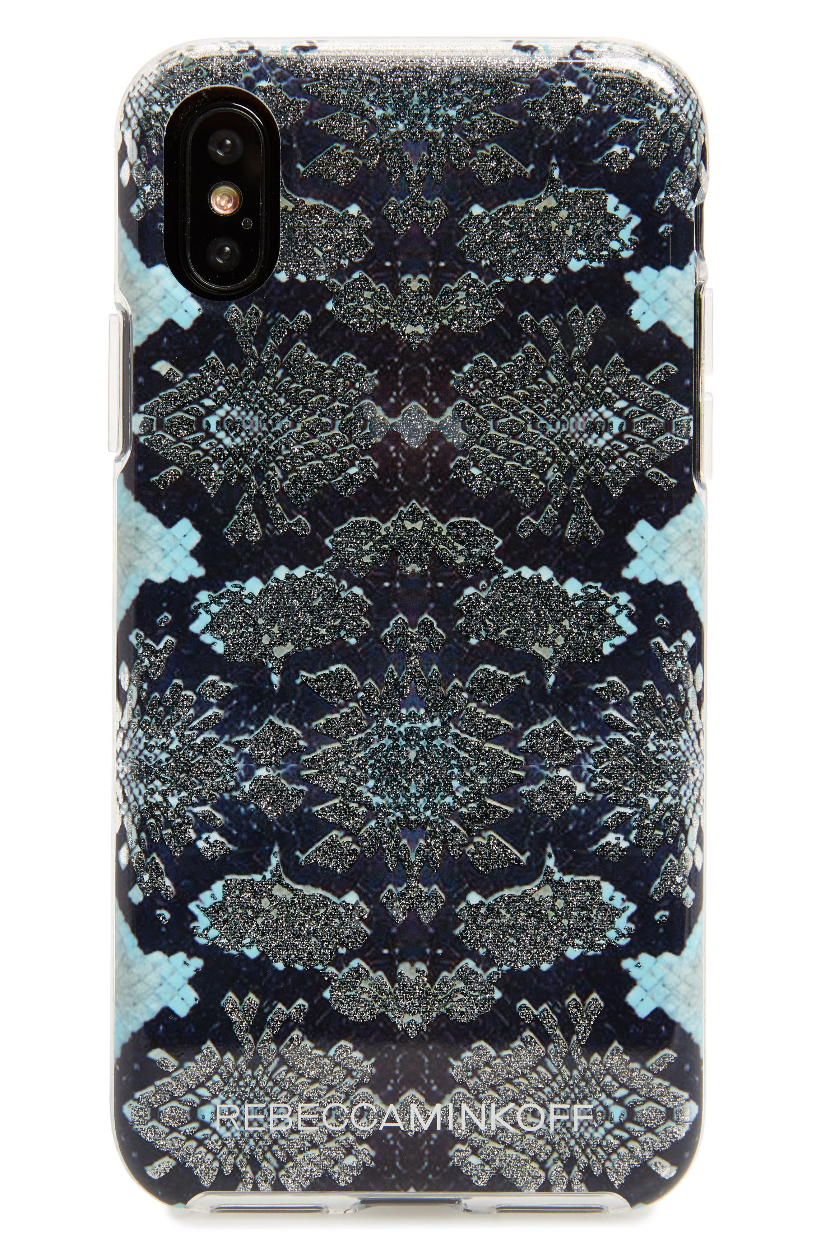 Glitter Snake Print iPhone X Case,                             Main thumbnail 1, color,                             Multi Glitter