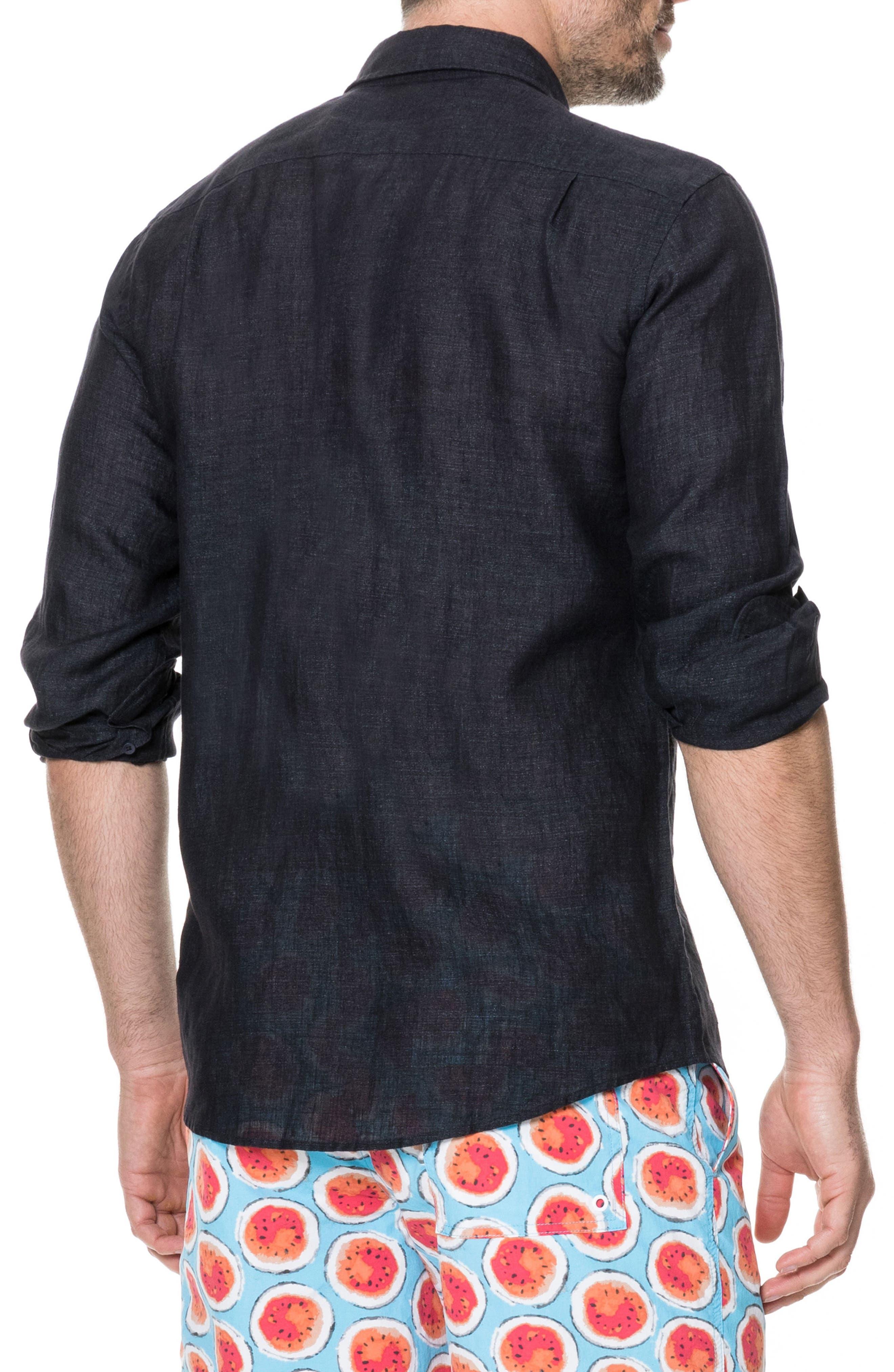 Landsdown Regular Fit Linen Sport Shirt,                             Alternate thumbnail 3, color,                             Charcoal
