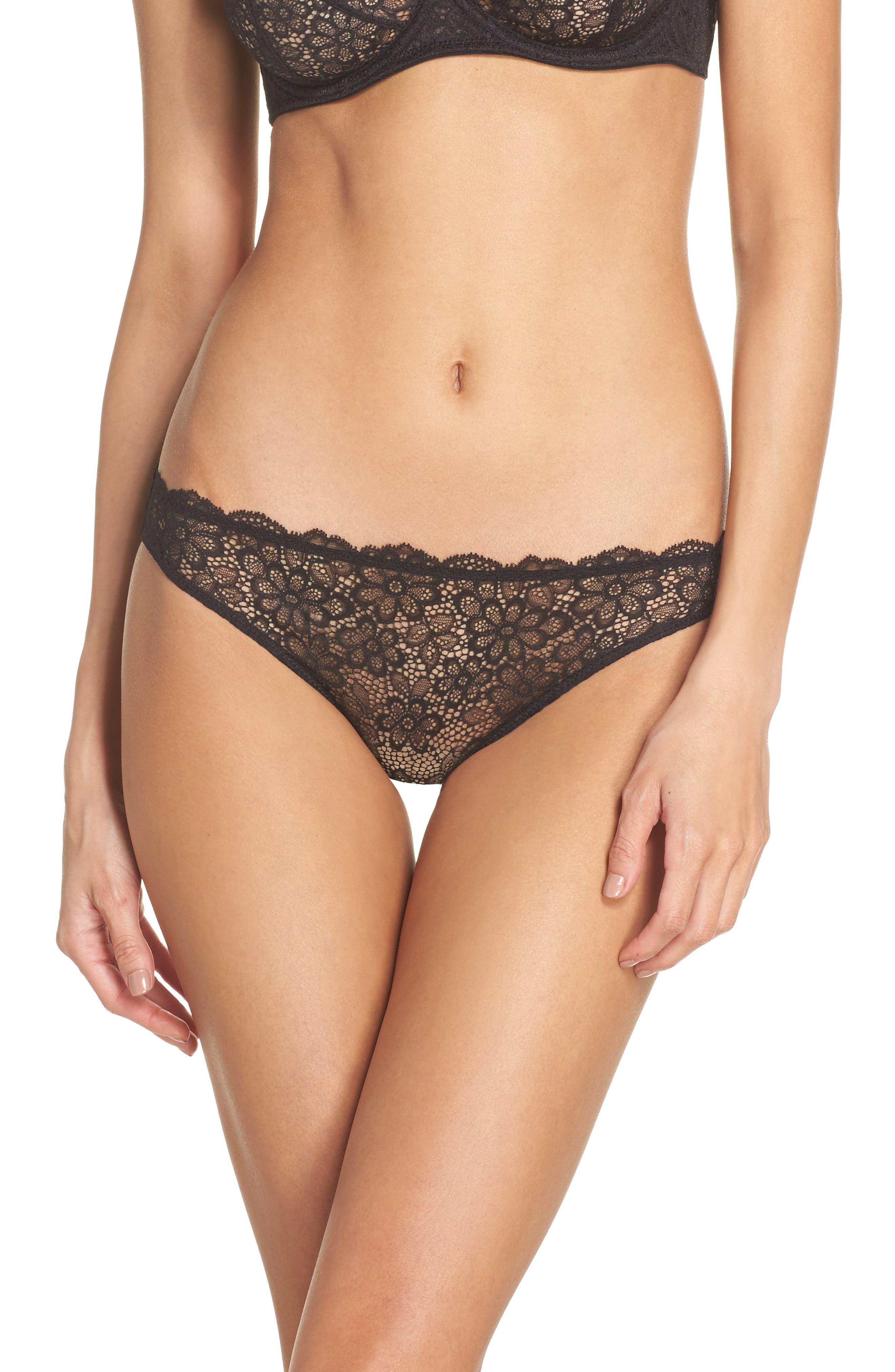 Daisy Lace Panties,                         Main,                         color, Black