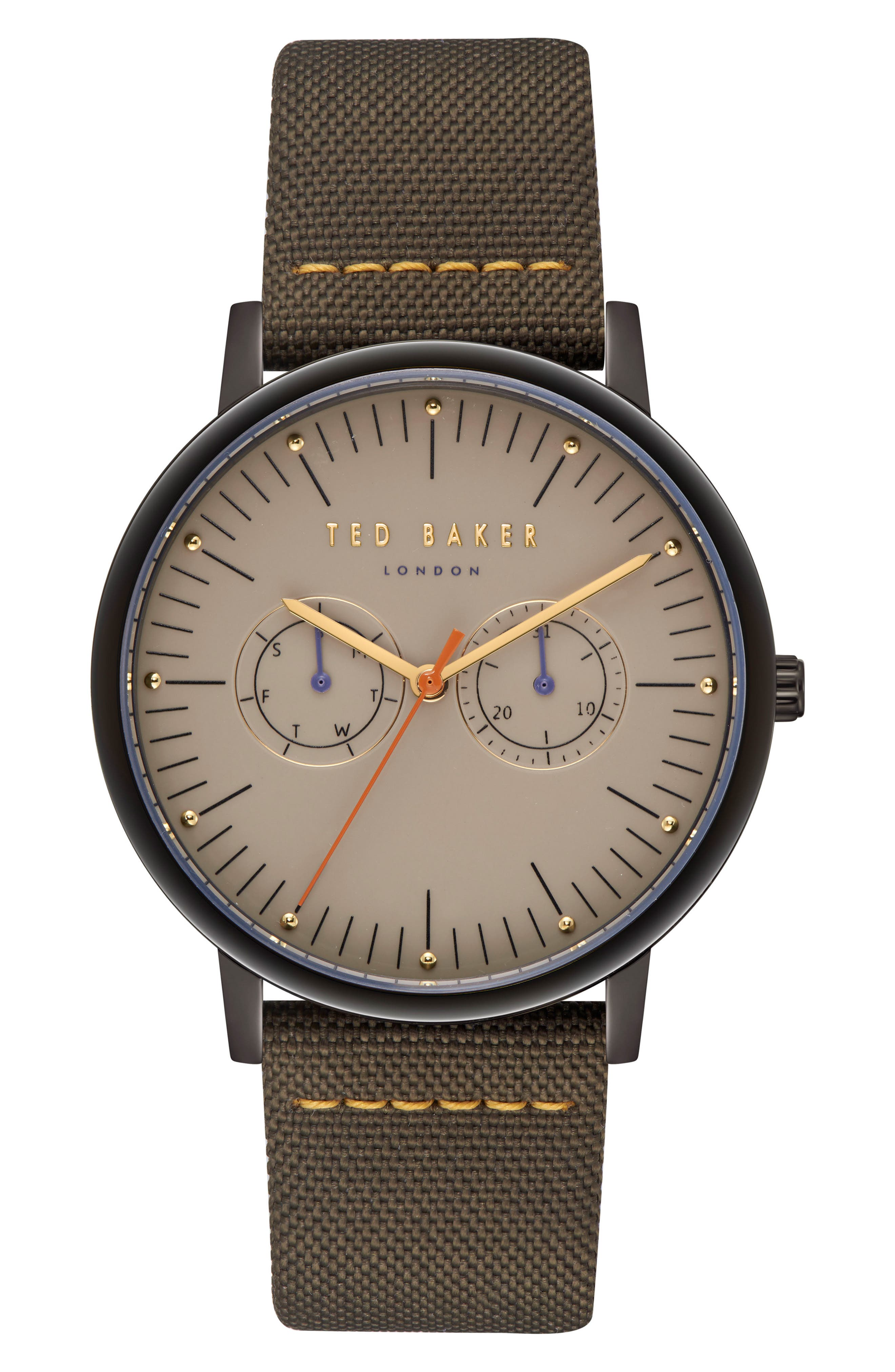 Brit Leather Strap Watch, 40mm,                             Main thumbnail 1, color,                             Light Brown/ Dark Green