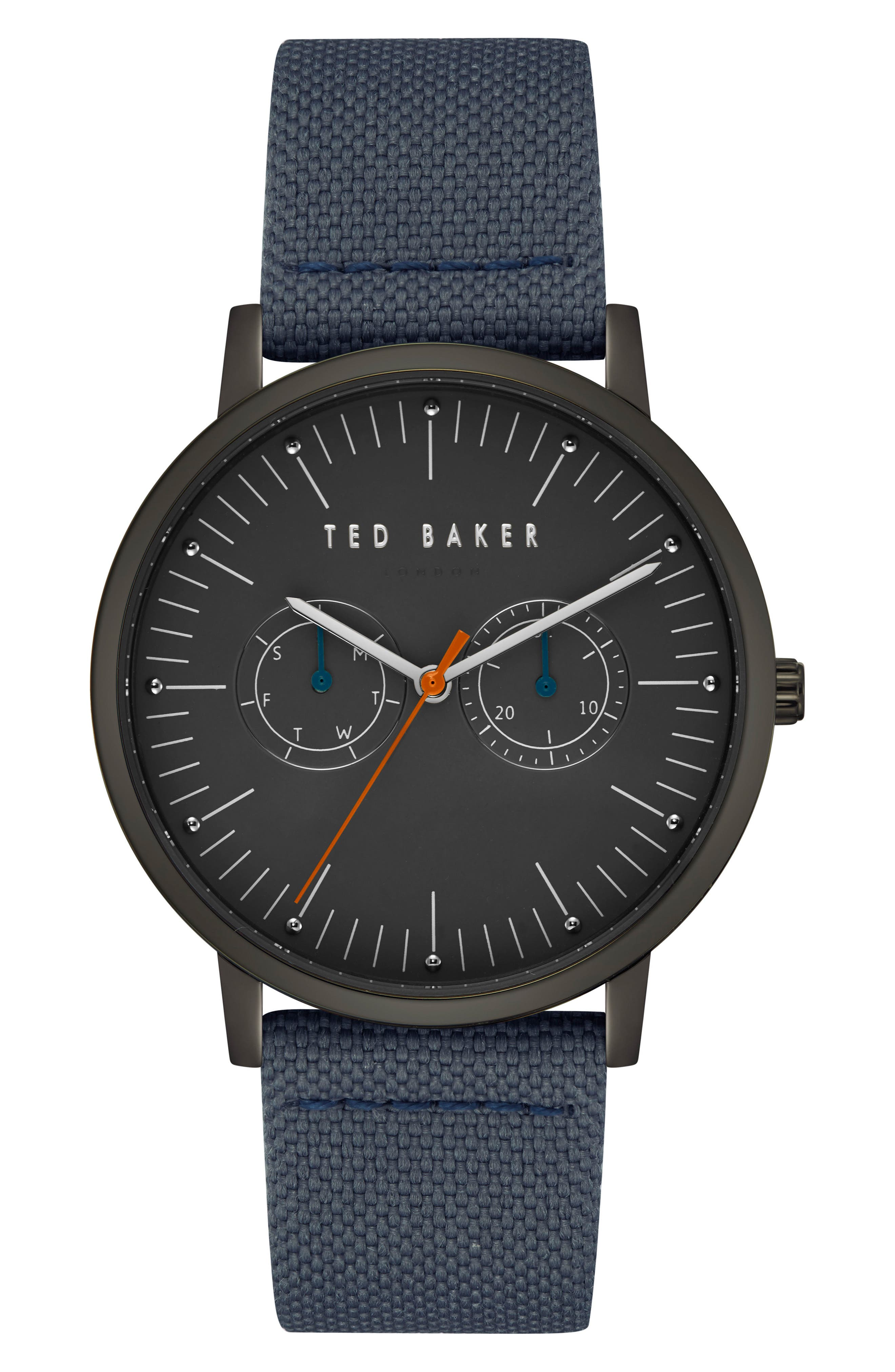 Brit Leather Strap Watch, 40mm,                             Main thumbnail 1, color,                             Dark Grey/ Dark Grey