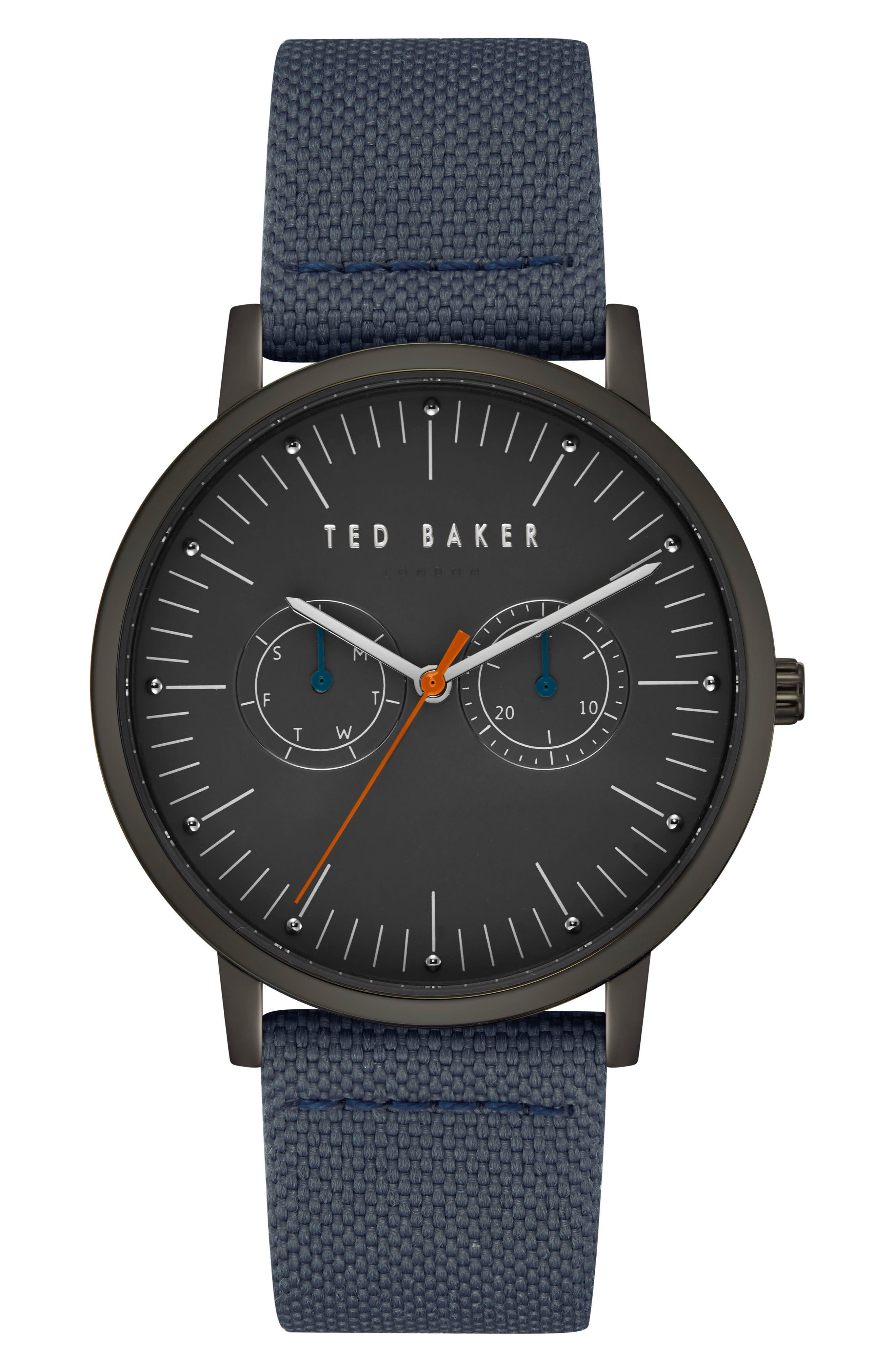 Brit Leather Strap Watch, 40mm,                         Main,                         color, Dark Grey/ Dark Grey