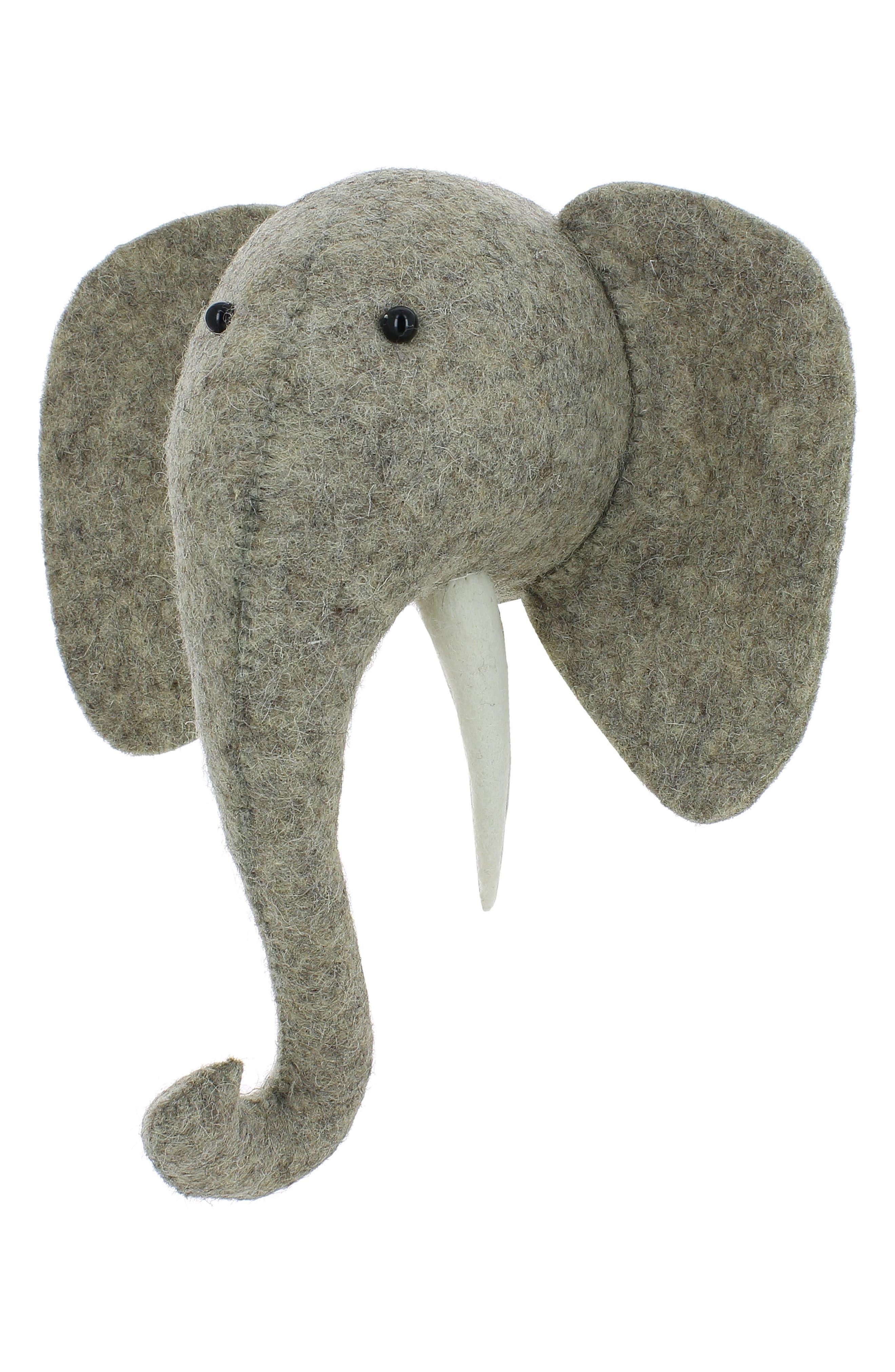 Mini Elephant Head Wall Art,                             Alternate thumbnail 3, color,                             Grey