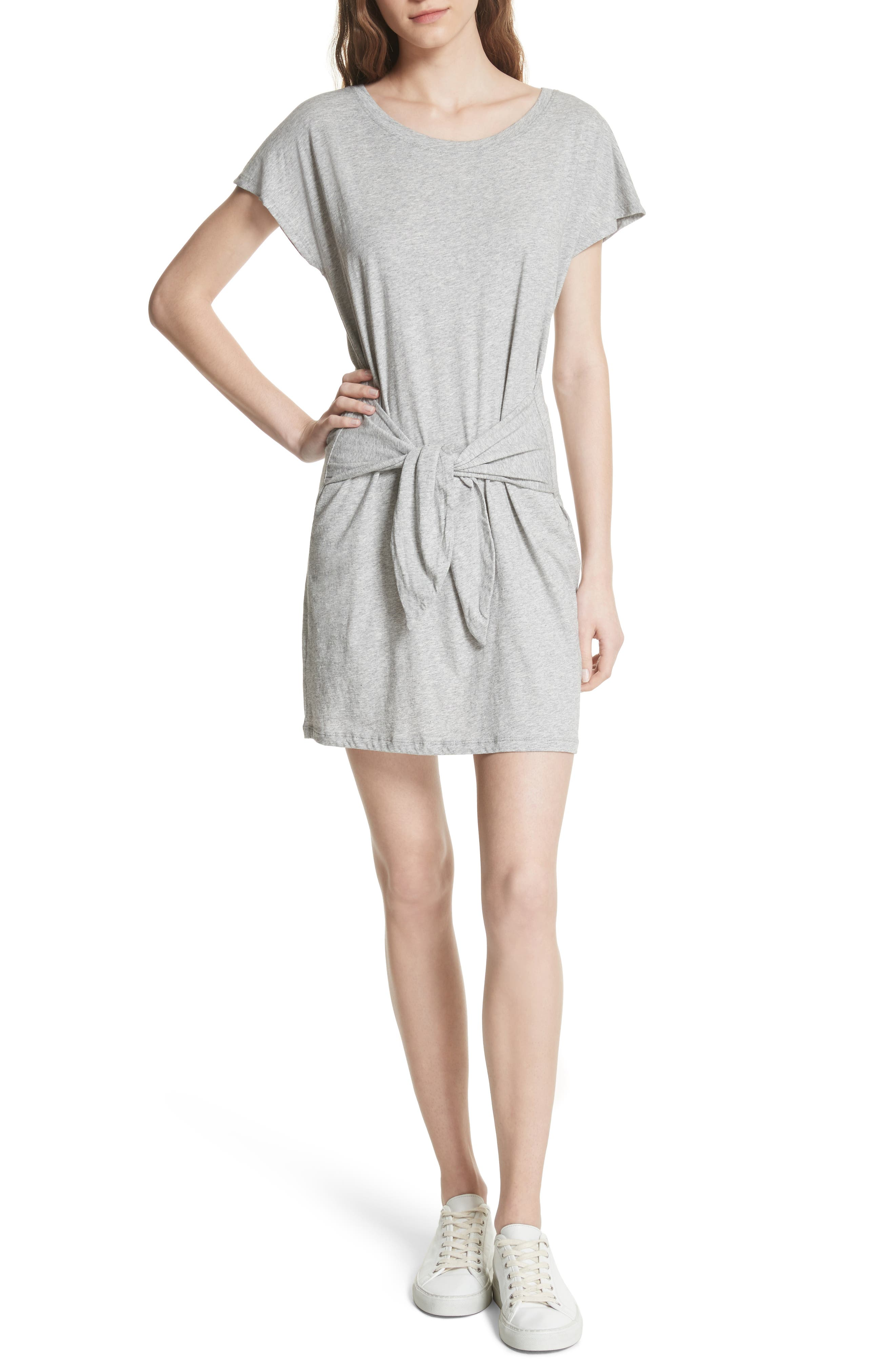 Alyra Tie Waist Cotton T-Shirt Dress,                             Main thumbnail 1, color,                             Heather Grey