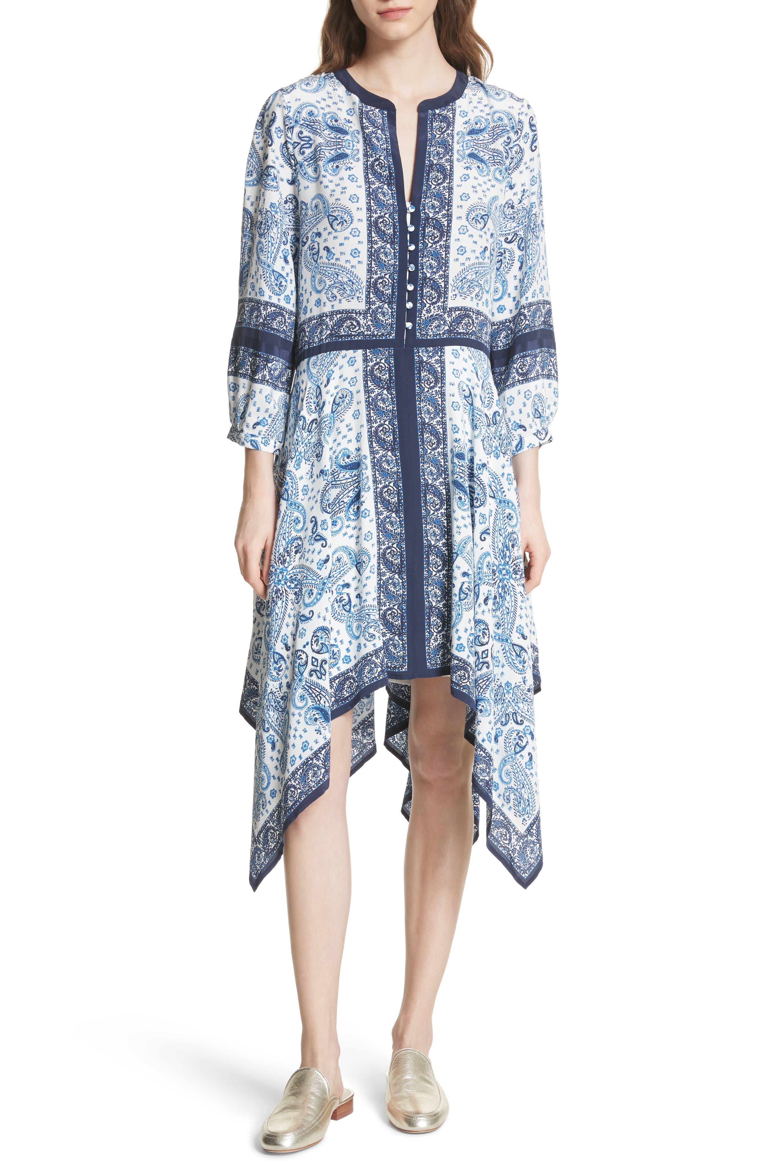Cyntia Paisley Silk Dress,                         Main,                         color, Porcelain