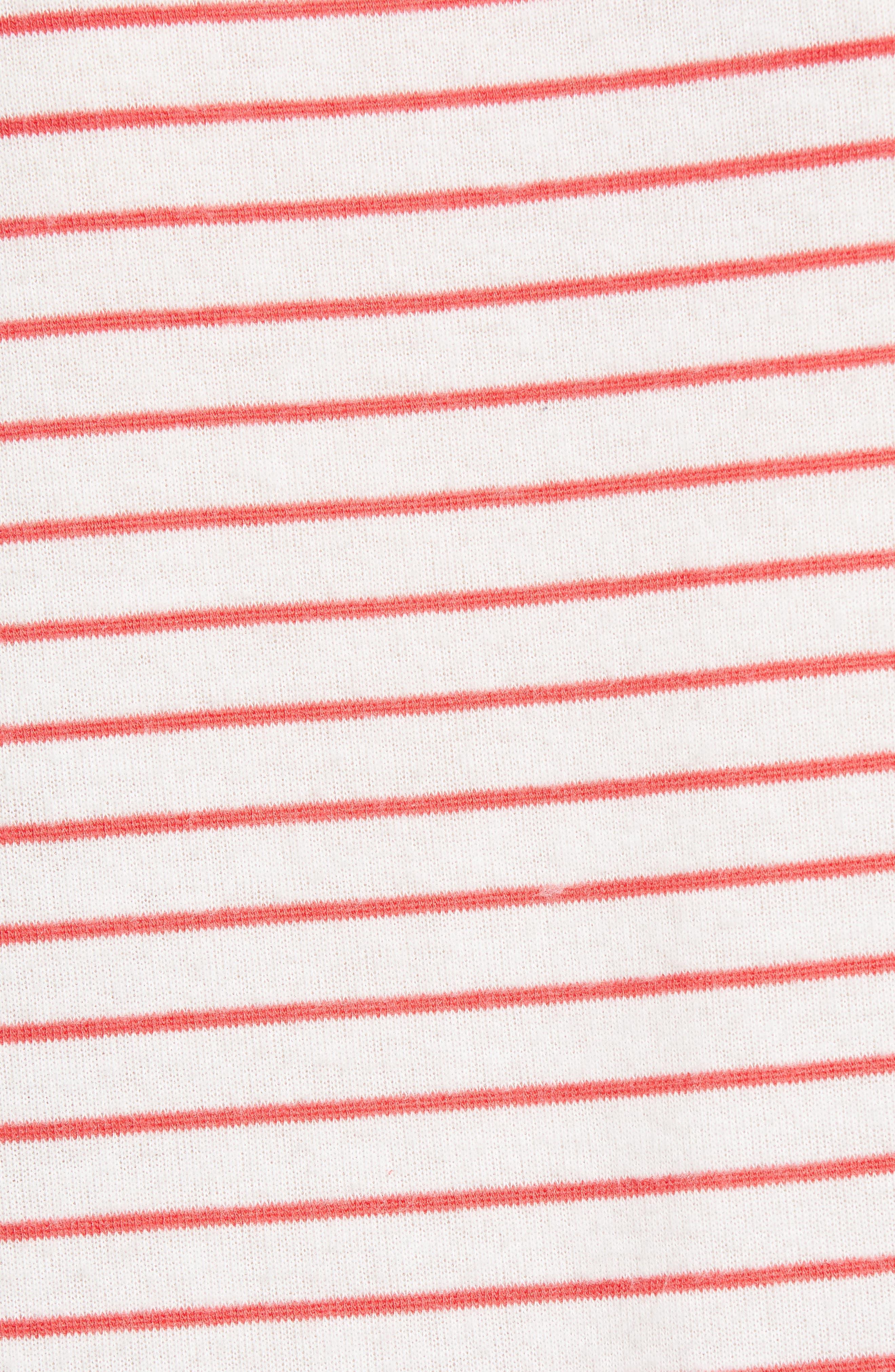x Living in Yellow Steph Cozy Stripe Top,                             Alternate thumbnail 7, color,                             Poppy/ White Stripe