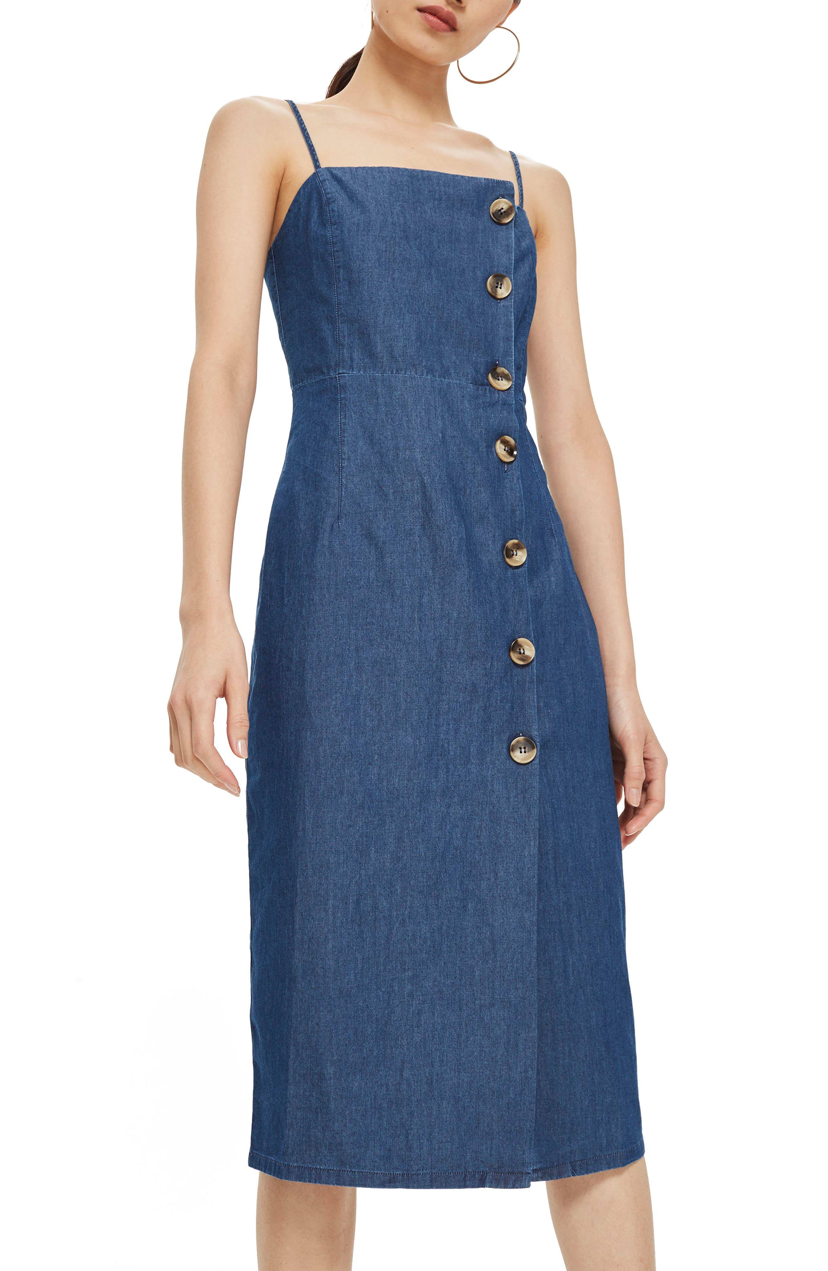 Horn Button Midi Dress,                             Main thumbnail 1, color,                             Mid Denim