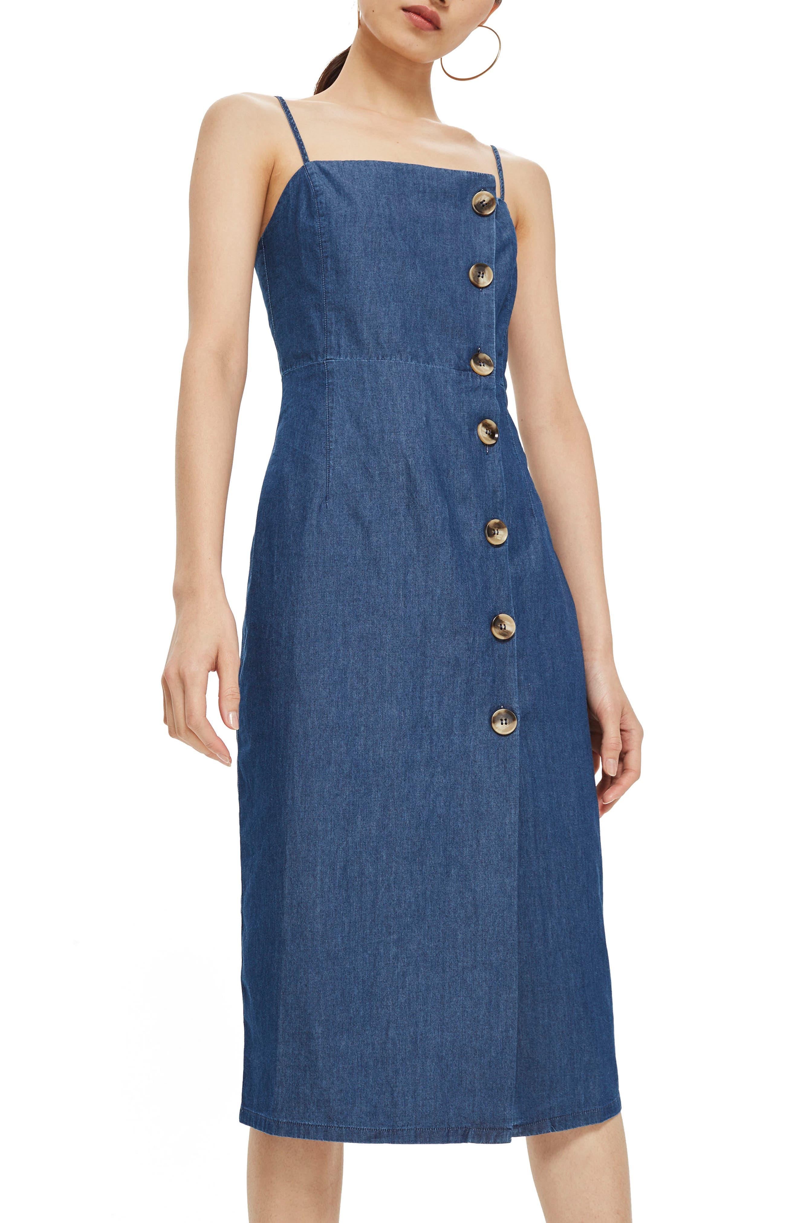 Horn Button Midi Dress,                         Main,                         color, Mid Denim