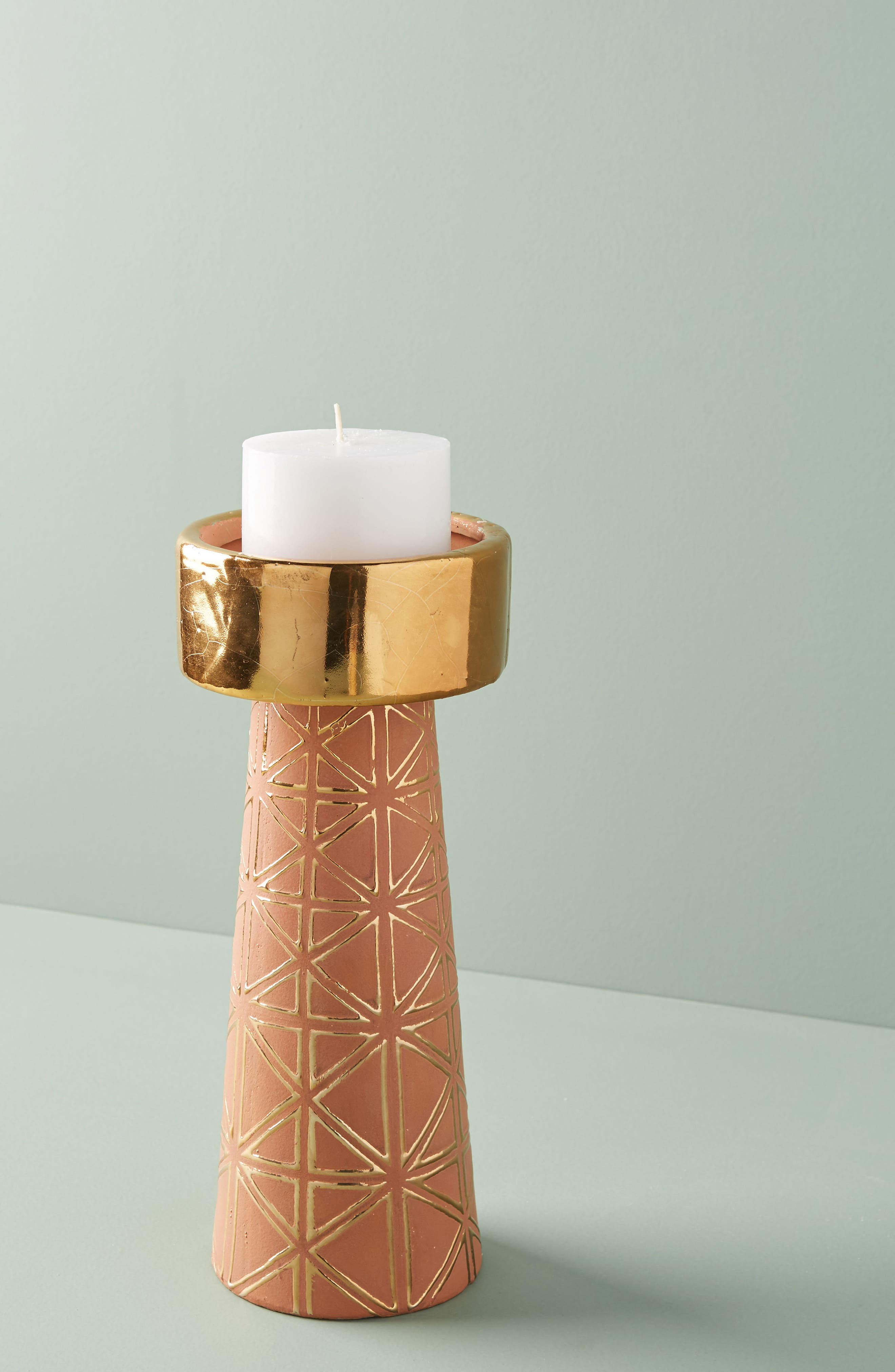 Geo Pillar Candleholder,                             Main thumbnail 1, color,                             Brown - Small