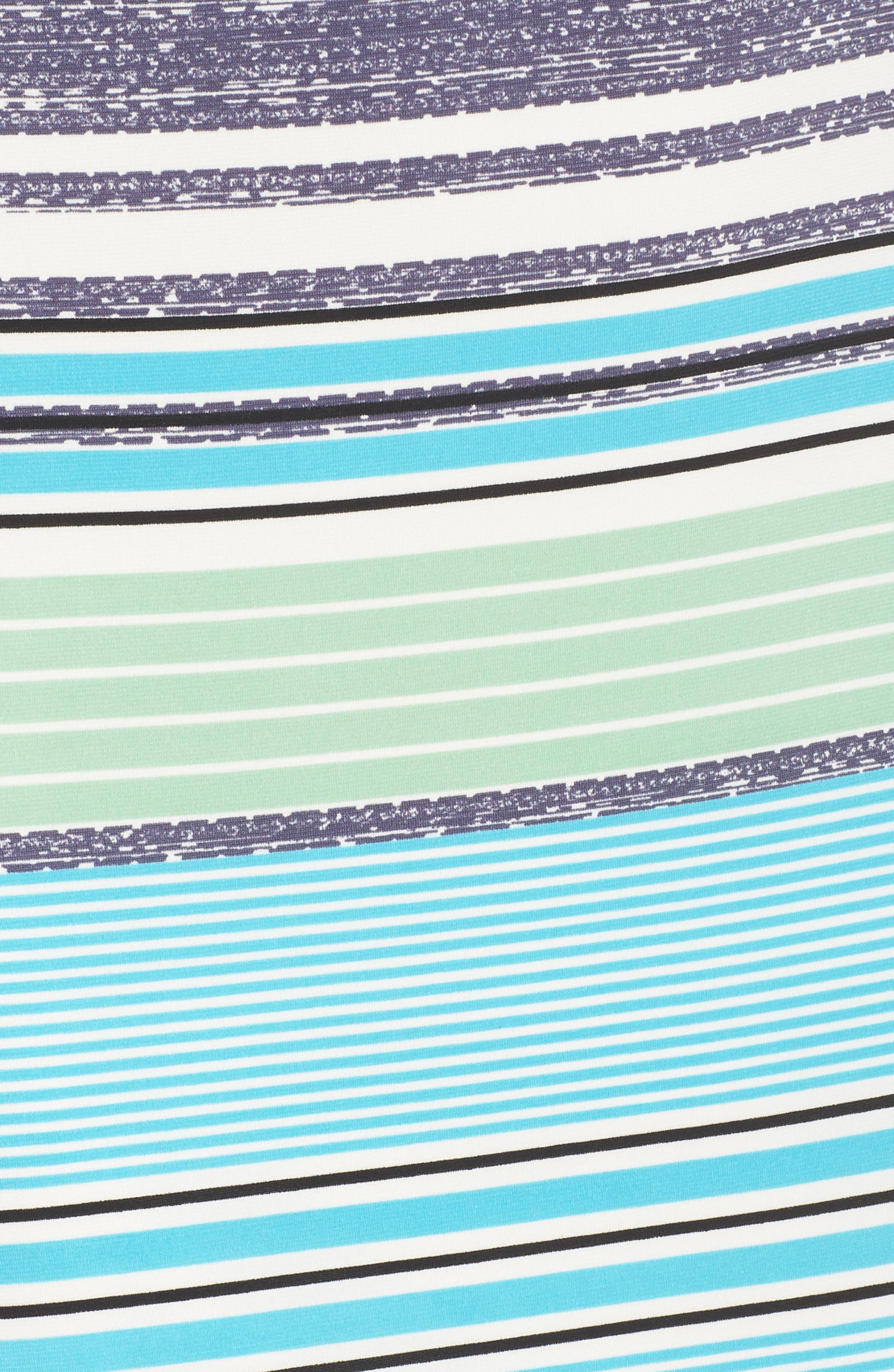 Ruched Sleeve Sheath Dress,                             Alternate thumbnail 6, color,                             White/ Aqua