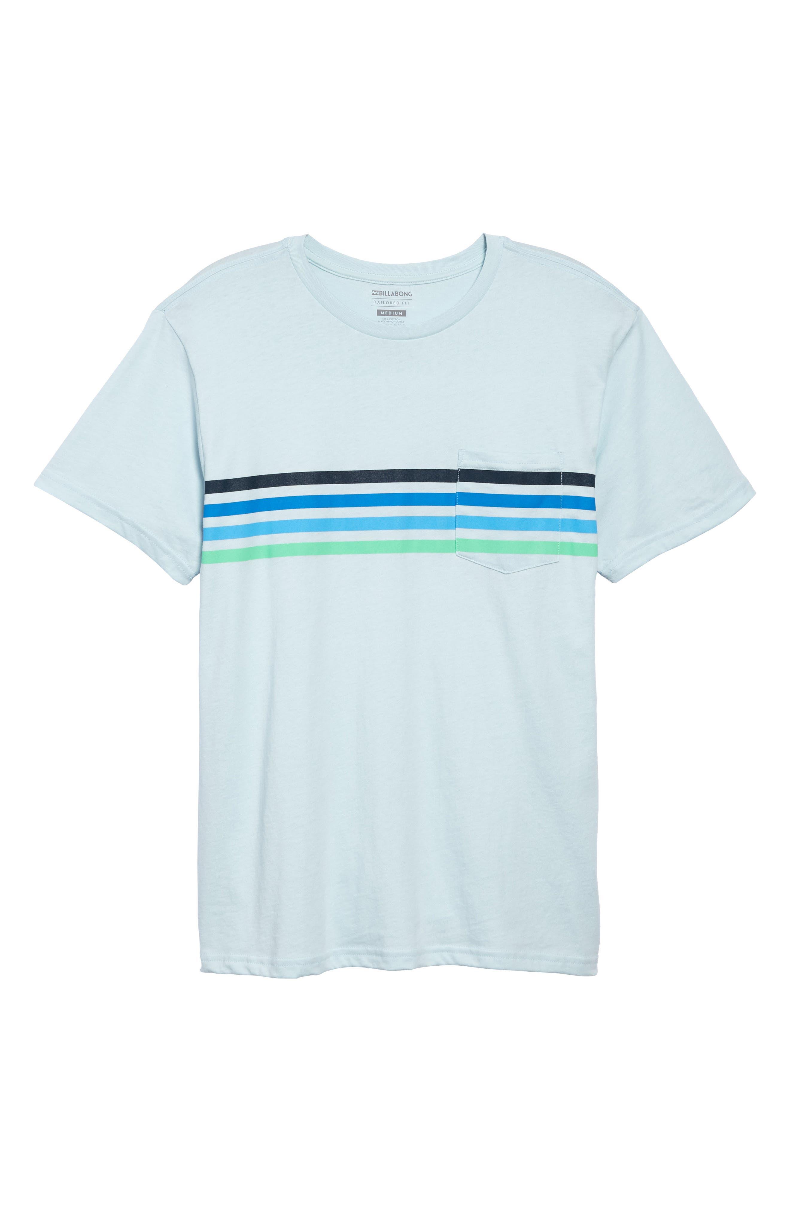 Team Stripe Pocket T-Shirt,                             Alternate thumbnail 6, color,                             Coastal Blue