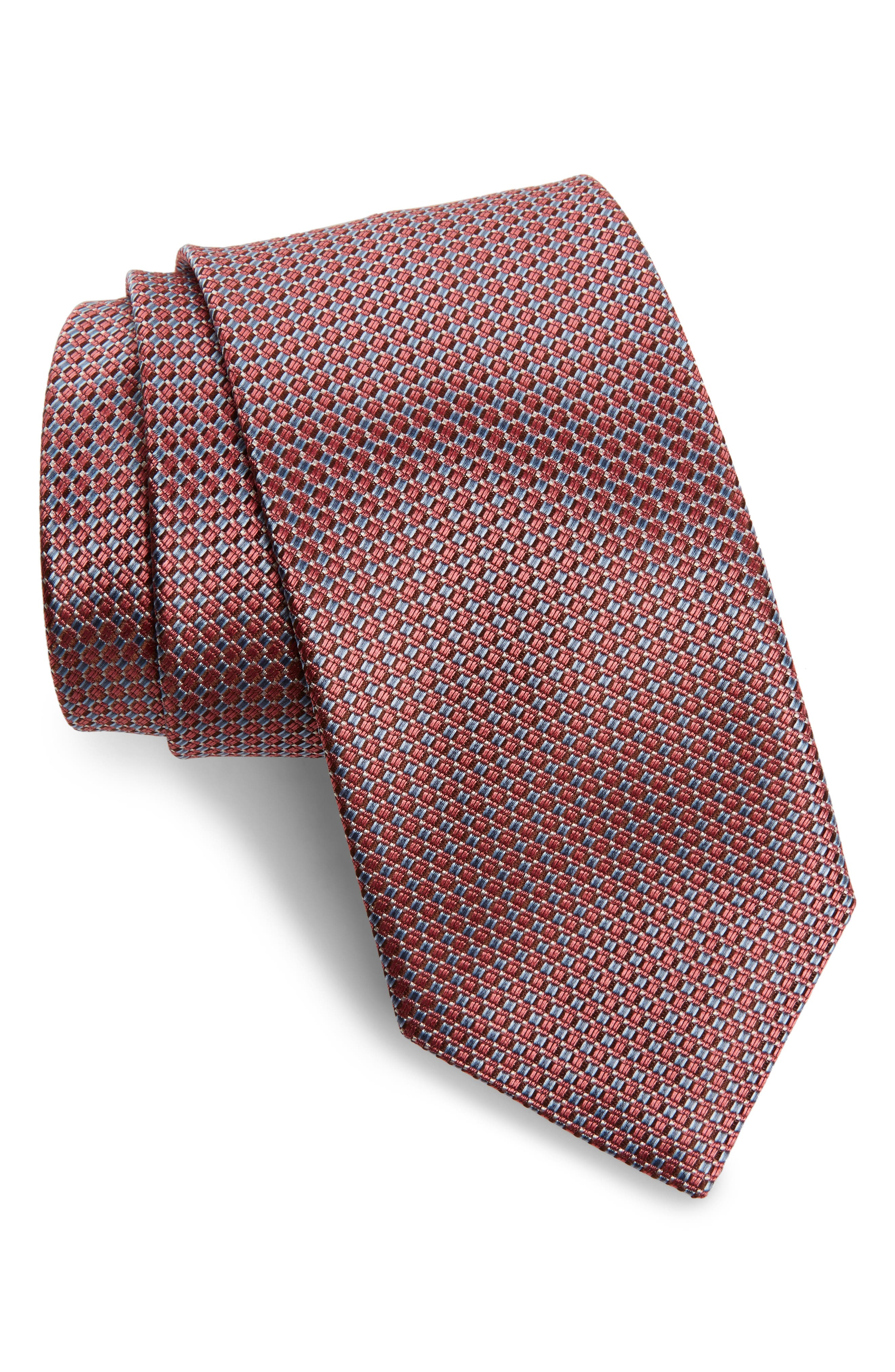 Solid Silk Tie,                             Main thumbnail 1, color,                             Pink/ Blue