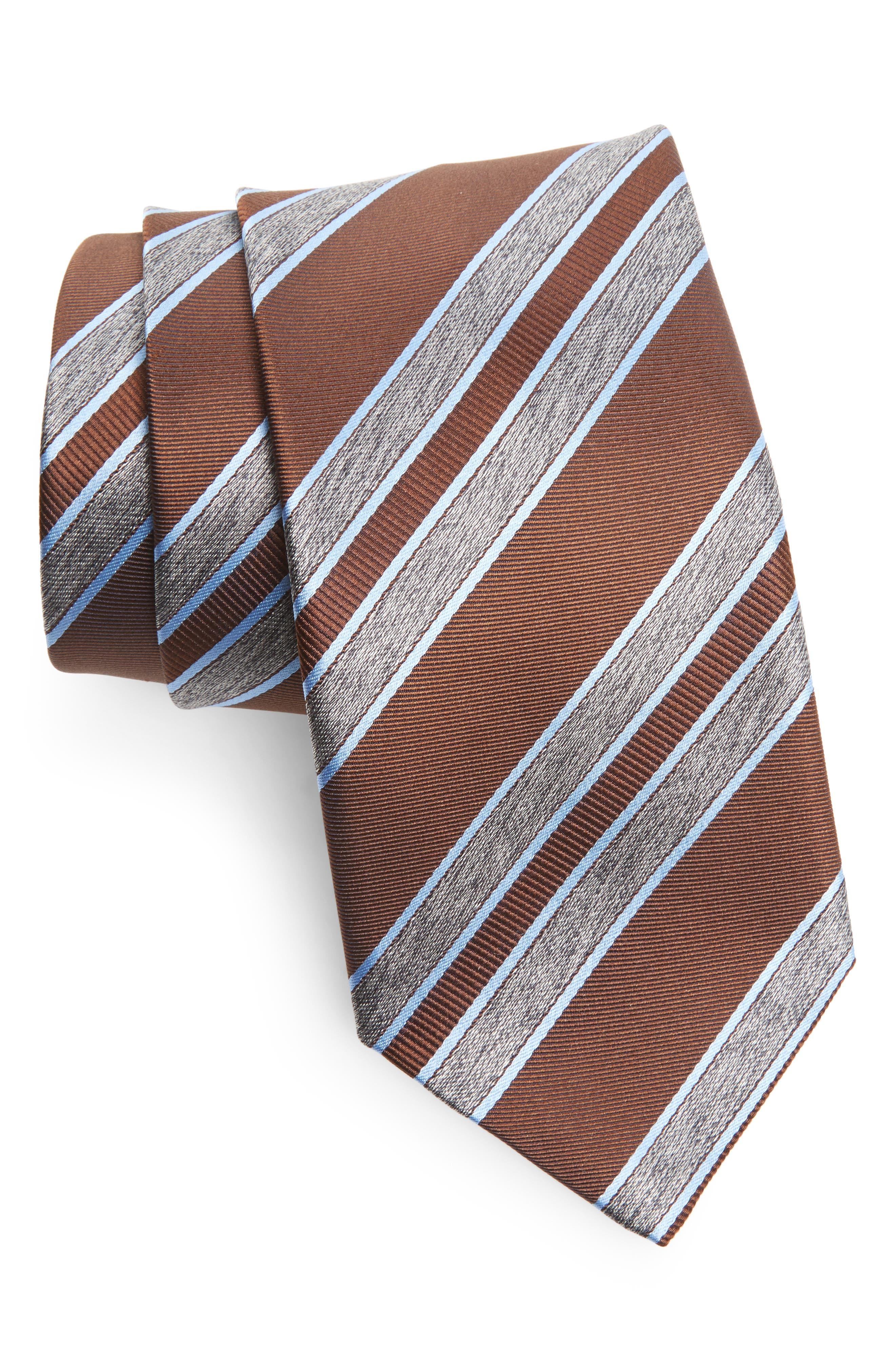 Stripe Silk Tie,                             Main thumbnail 1, color,                             Brown/ Grey
