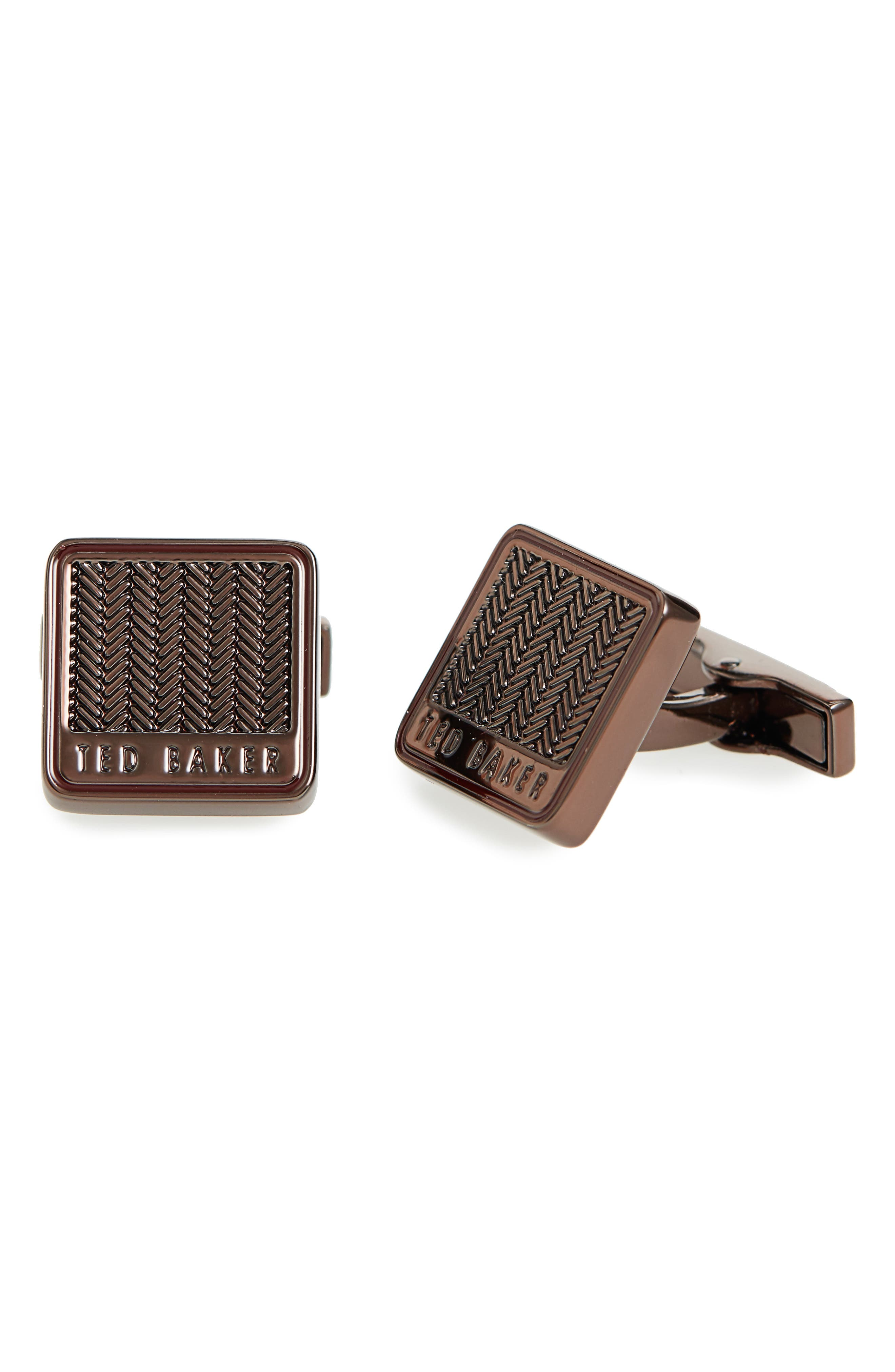 Braidy Cuff Links,                             Main thumbnail 1, color,                             Chocolate